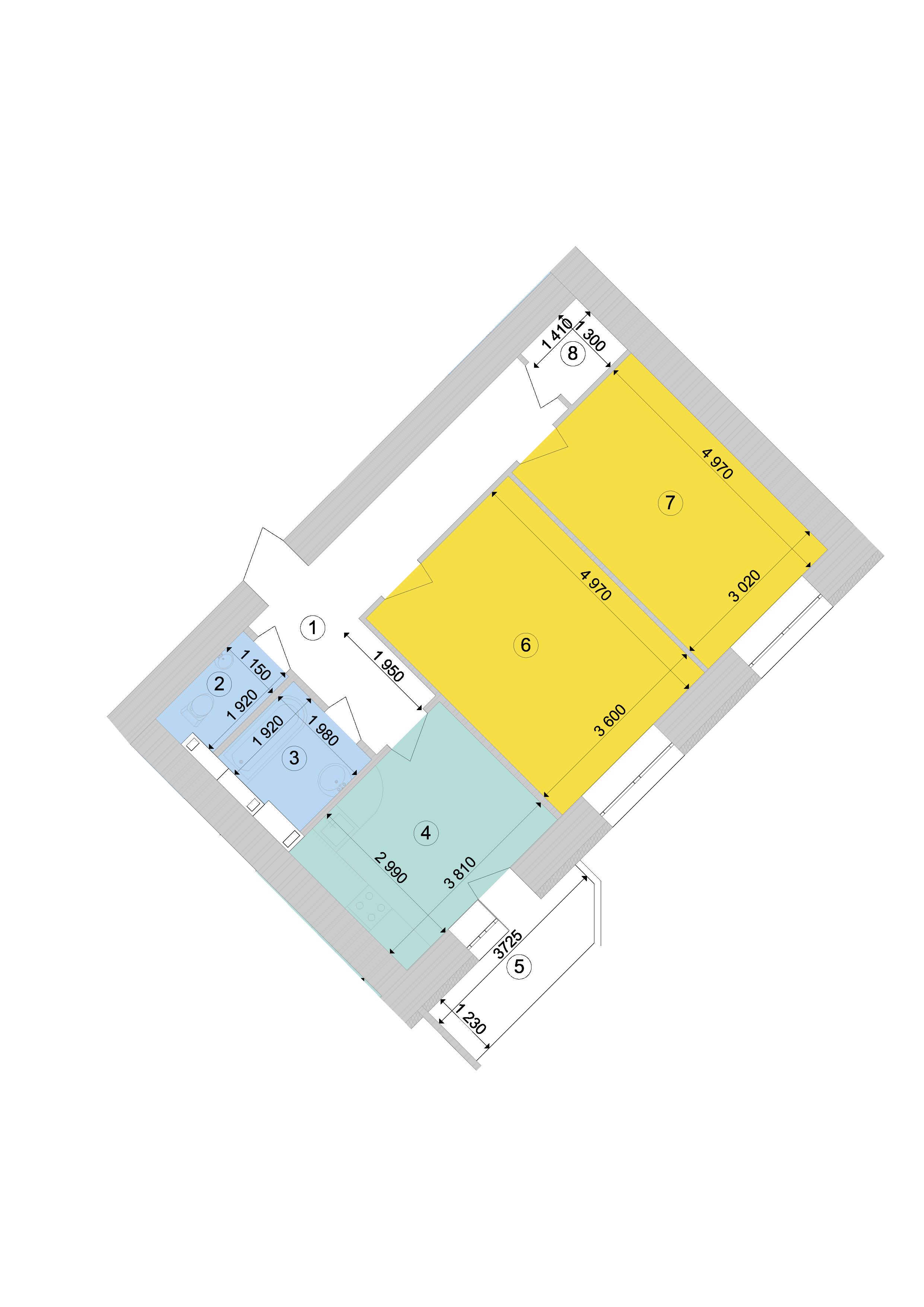 Купити Двокімнатна квартира 64,02 кв.м., тип 2.1, будинок 1, секція 9 в Києві Голосіївський район