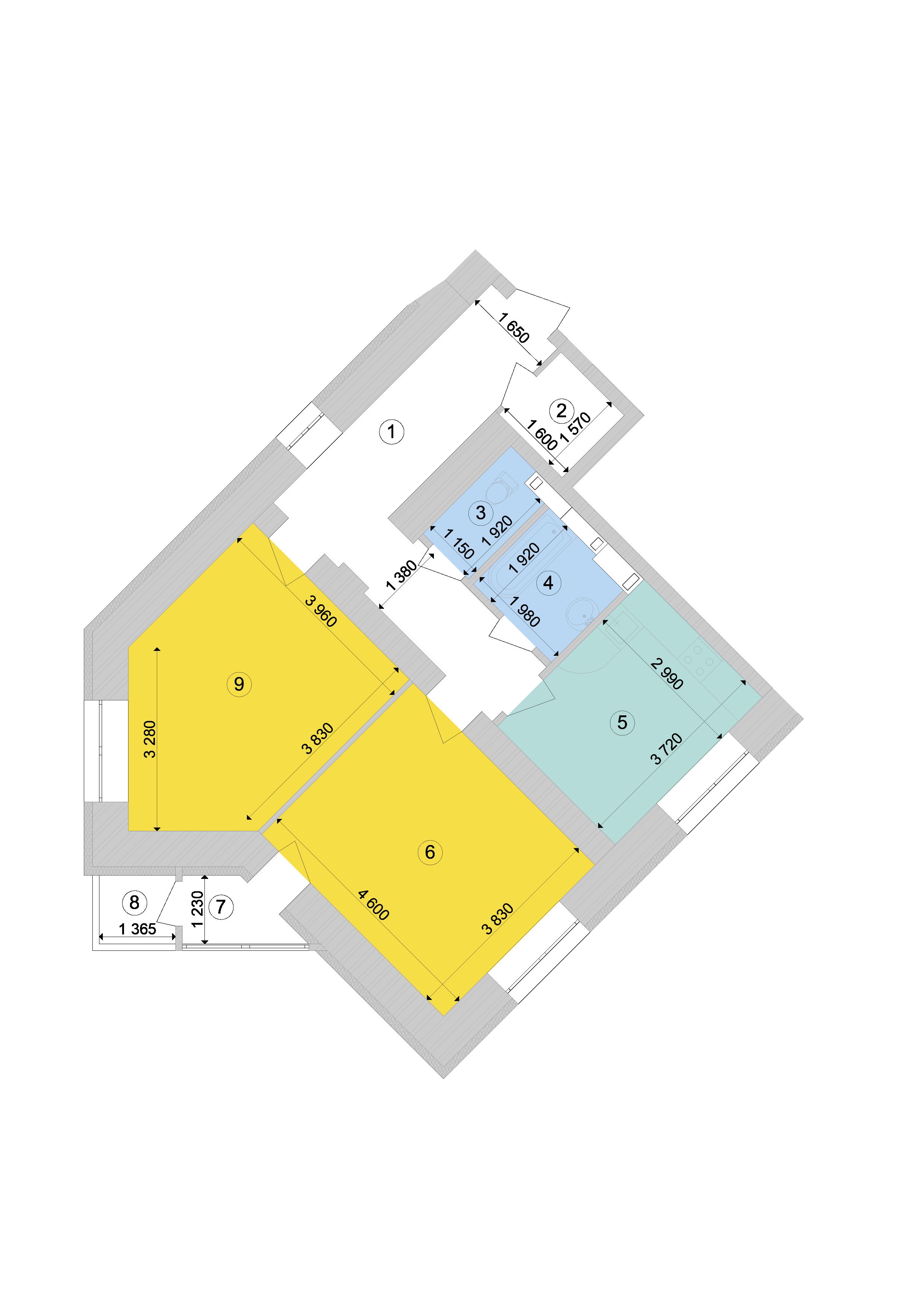 Купити Двокімнатна квартира 70,09 кв.м., тип 2.2, будинок 1, секція 9 в Києві Голосіївський район