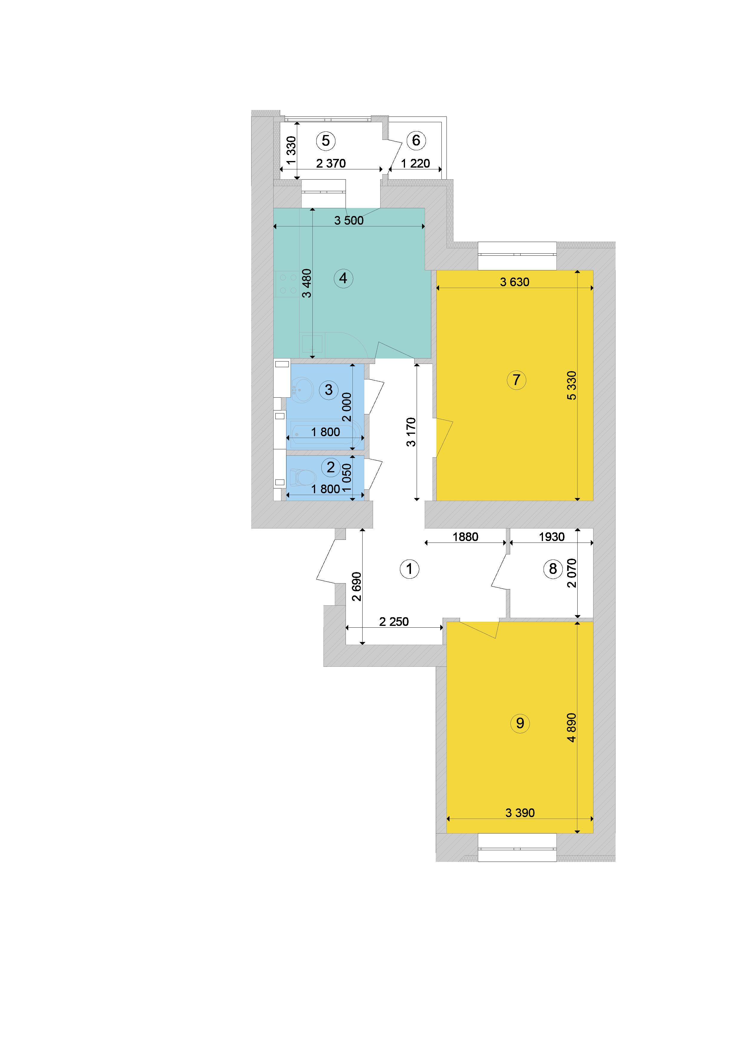 Купити Двокімнатна квартира 73.86 кв.м., тип 2.3, будинок 1, секція 8 в Києві Голосіївський район