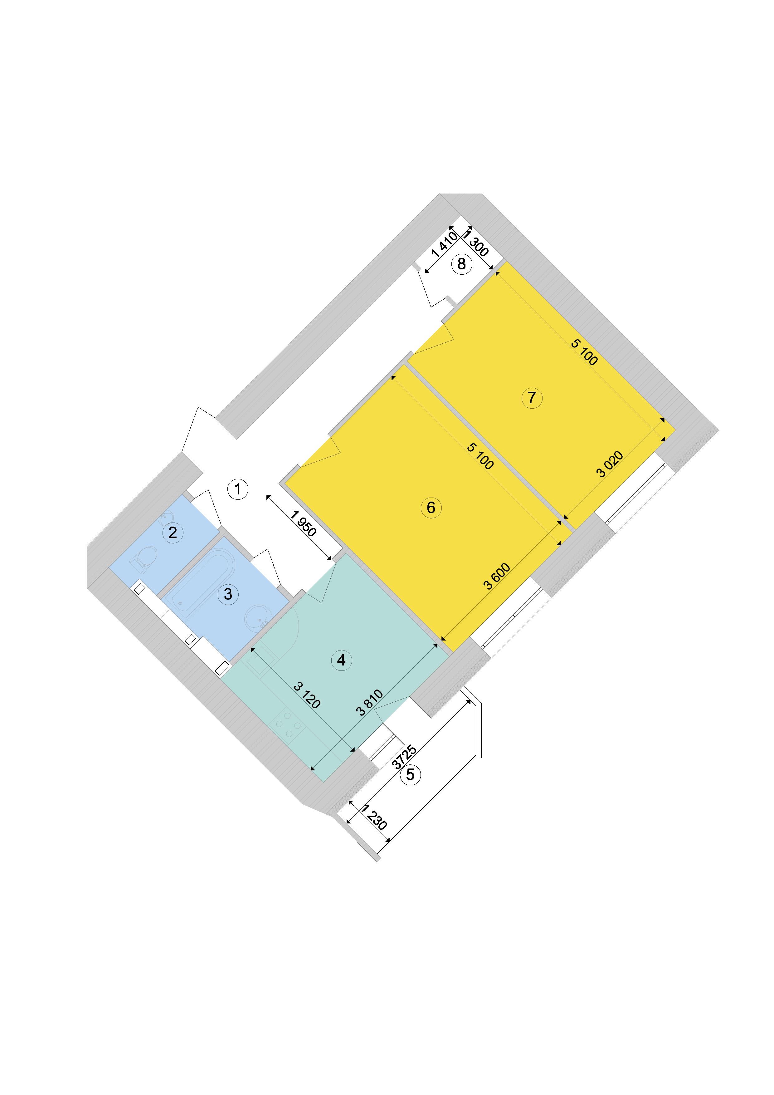Купити Двокімнатна квартира 65,35 кв.м., тип 2.4, будинок 1, секція 9 в Києві Голосіївський район