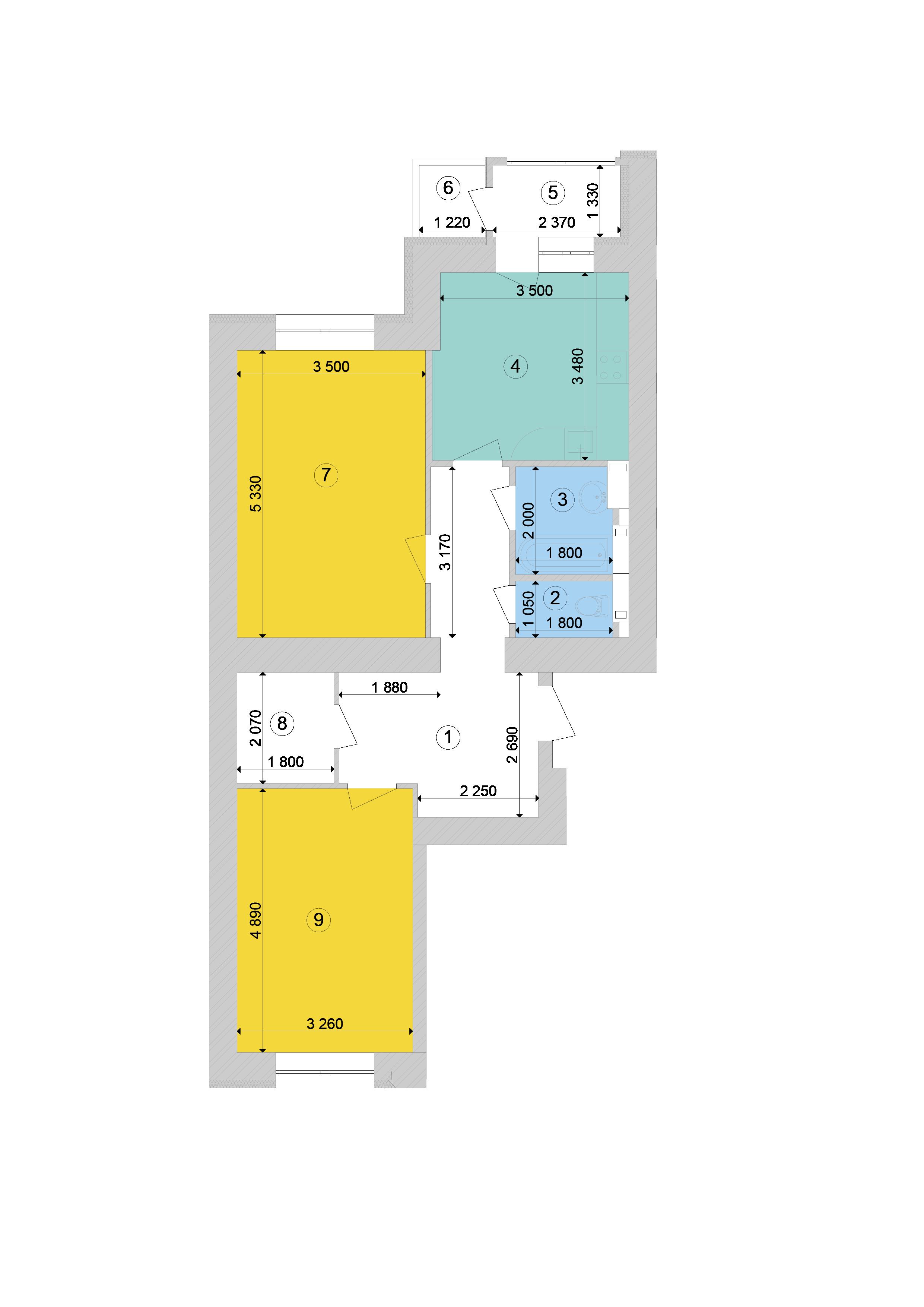 Купити Двокімнатна квартира 72.28 кв.м., тип 2.4, будинок 1, секція 8 в Києві Голосіївський район