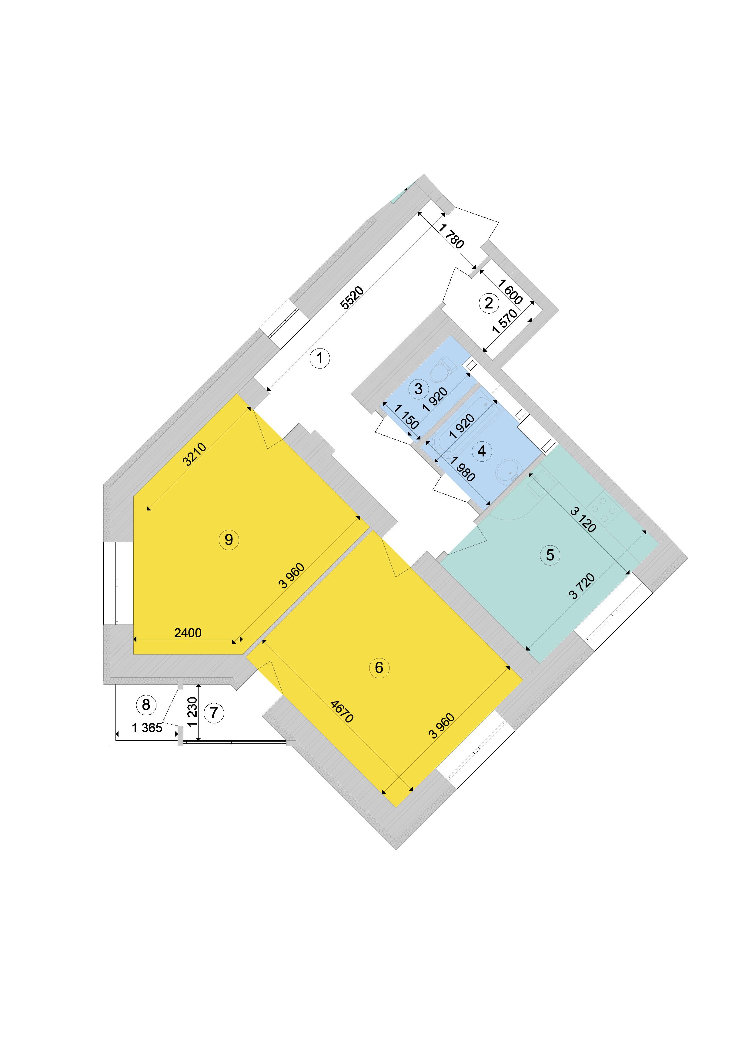 Купити Двокімнатна квартира 73,49 кв.м., тип 2.5, будинок 1, секція 9 в Києві Голосіївський район