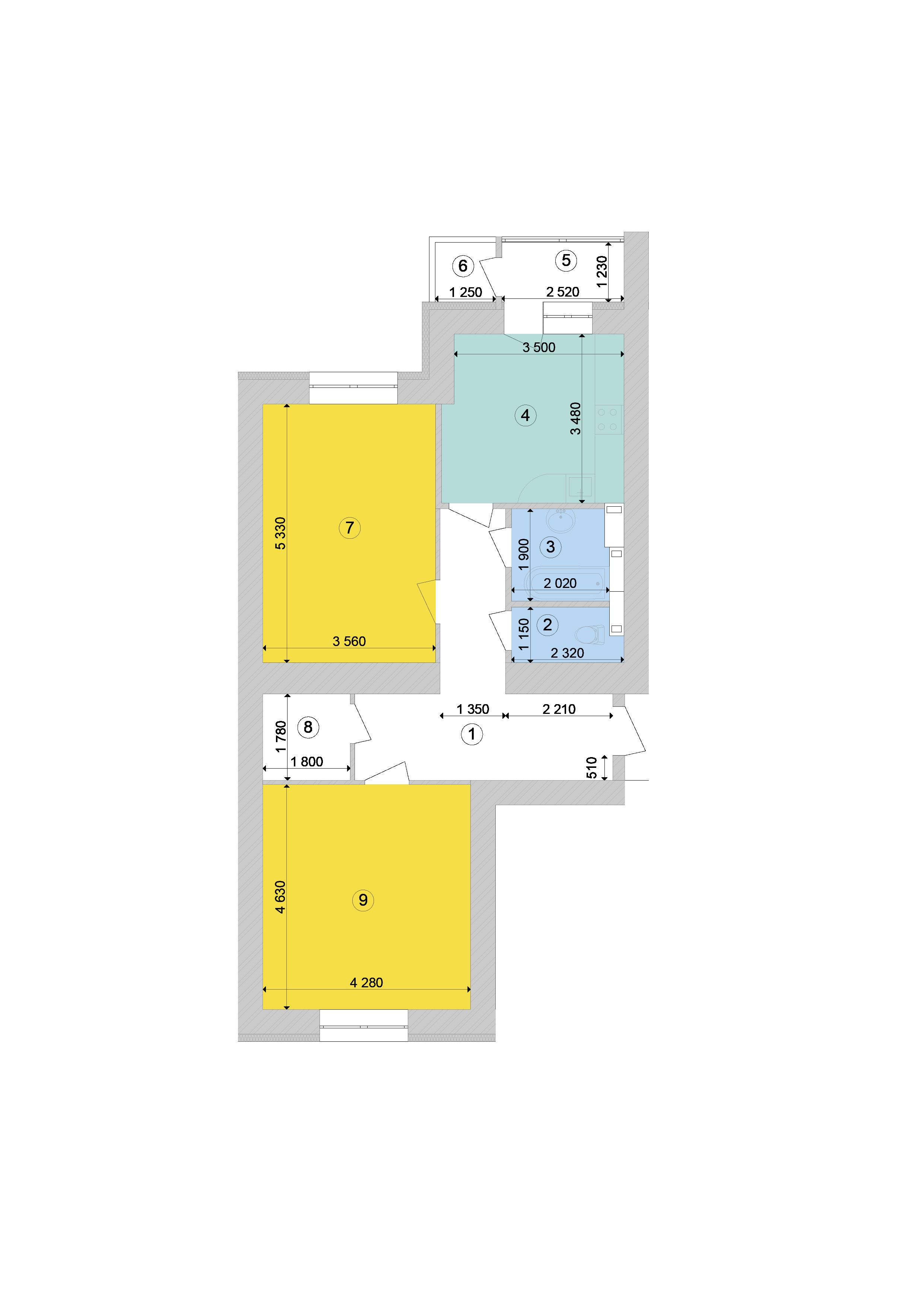 Купити Двокімнатна квартира 77 кв.м., тип 2.6, будинок 1, секція 9 в Києві Голосіївський район