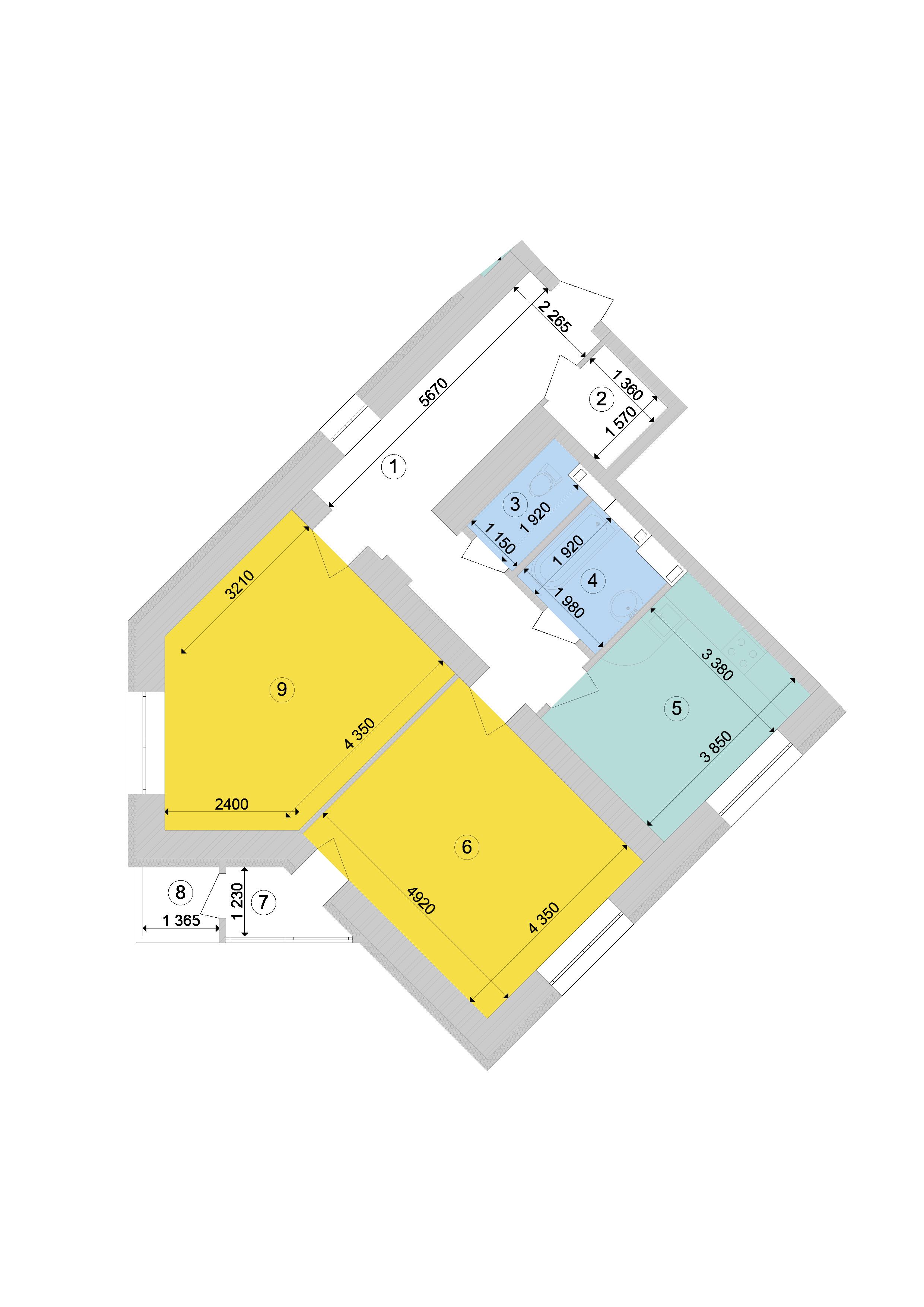 Купити Двокімнатна квартира 81,93 кв.м., тип 2.8, будинок 1, секція 9 в Києві Голосіївський район