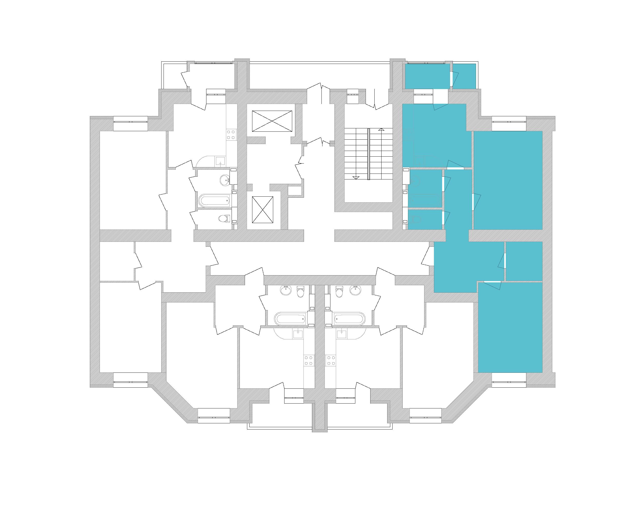 Двокімнатна квартира 72,31 кв.м., тип 2.1, будинок 1, секція 8 розташування на поверсі