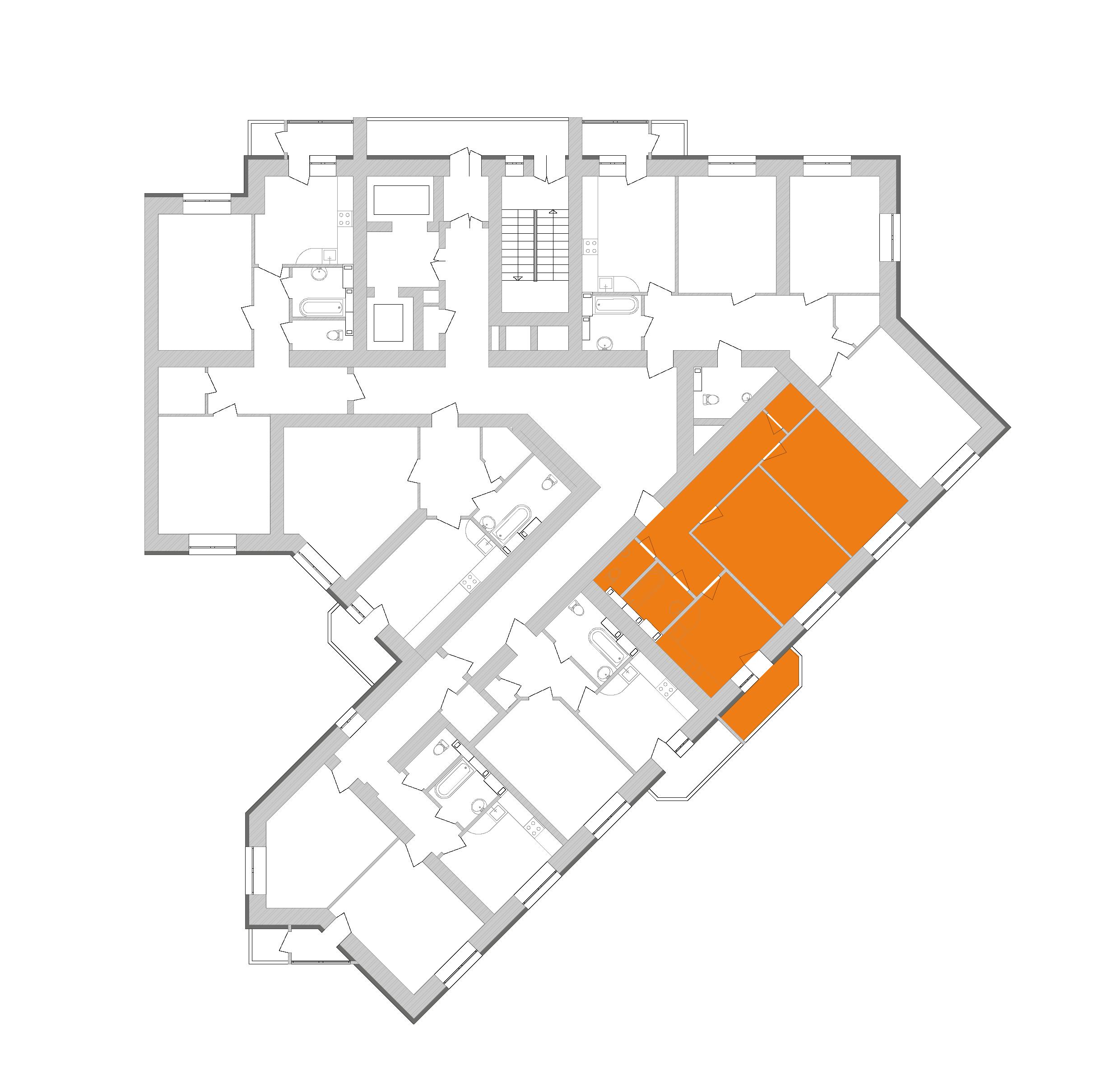 Двокімнатна квартира 64,02 кв.м., тип 2.1, будинок 1, секція 9 розташування на поверсі