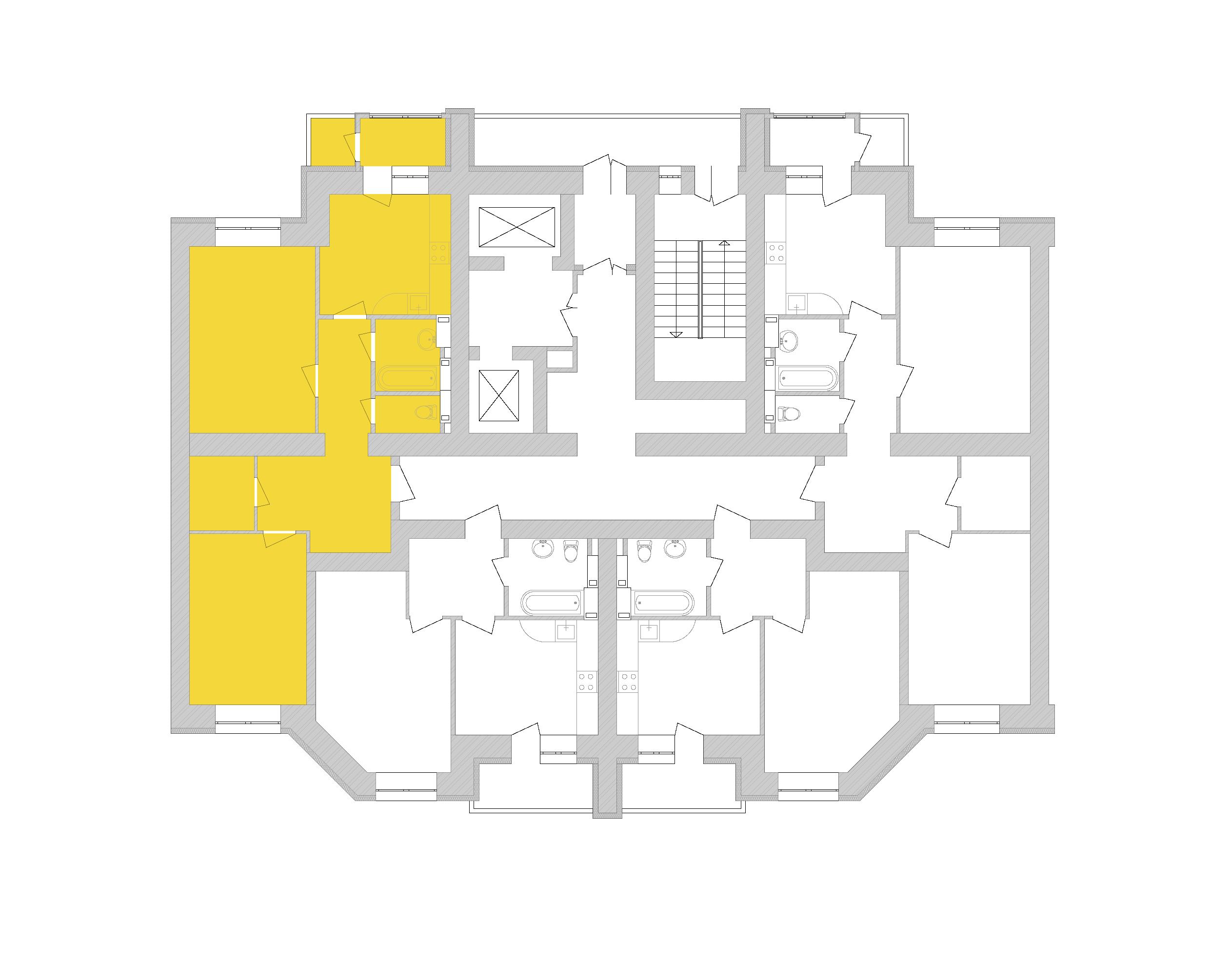 Двухкомнатная квартира 72.28 кв.м., тип 2.4, дом 1, секция 8 расположение на этаже