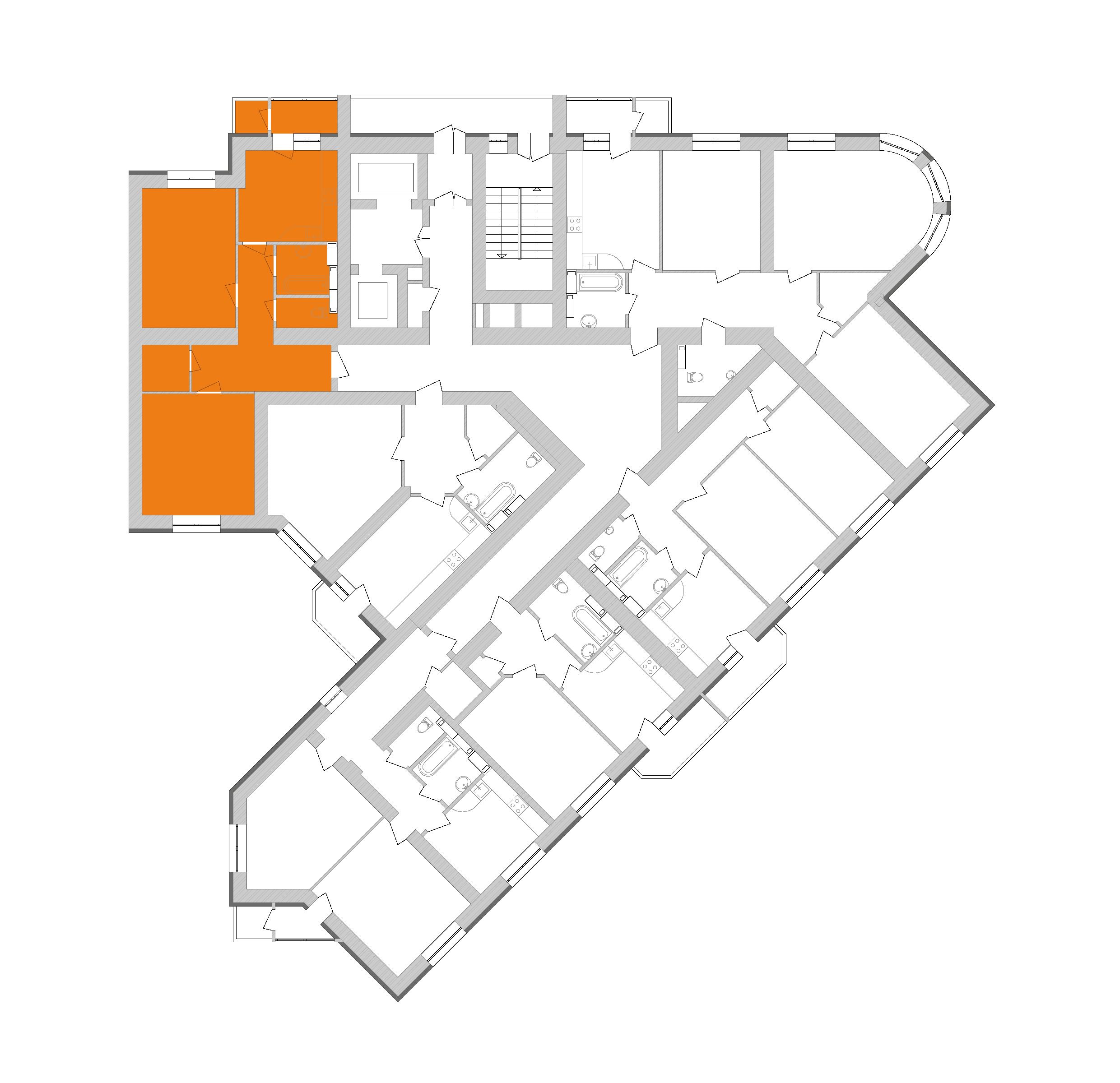Двухкомнатная квартира 77 кв.м., тип 2.6, дом 1, секция 9 расположение на этаже