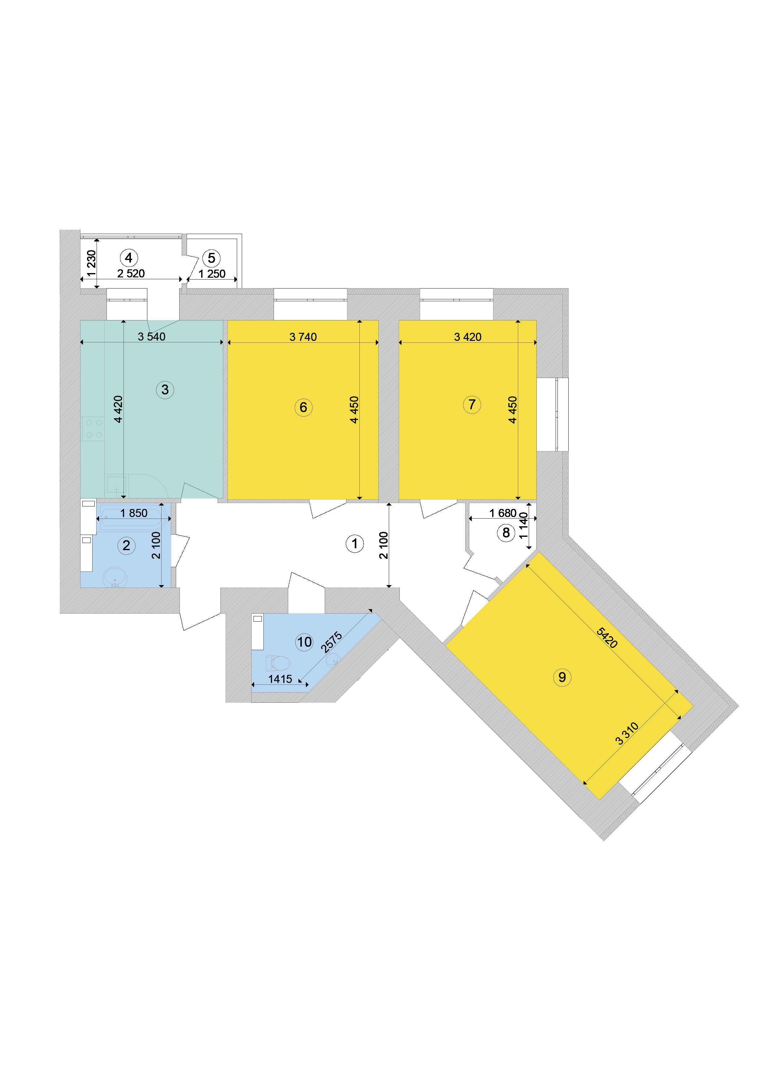 Купити Трикімнатна квартира 95,04 кв.м., тип 3.1, будинок 1, секція 9 в Києві Голосіївський район