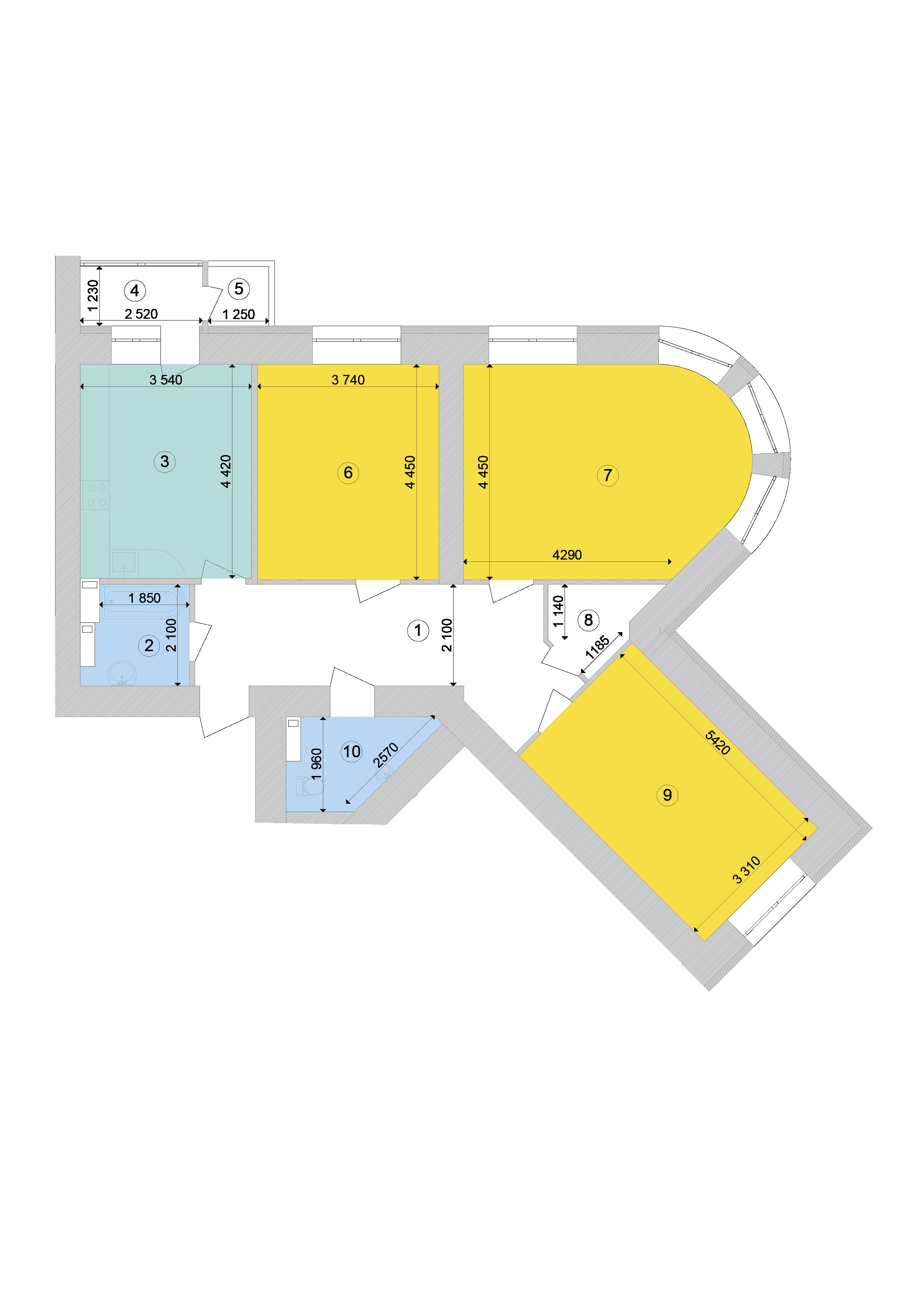 Купити Трикімнатна квартира 104,15 кв.м., тип 3.2, будинок 1, секція 9 в Києві Голосіївський район