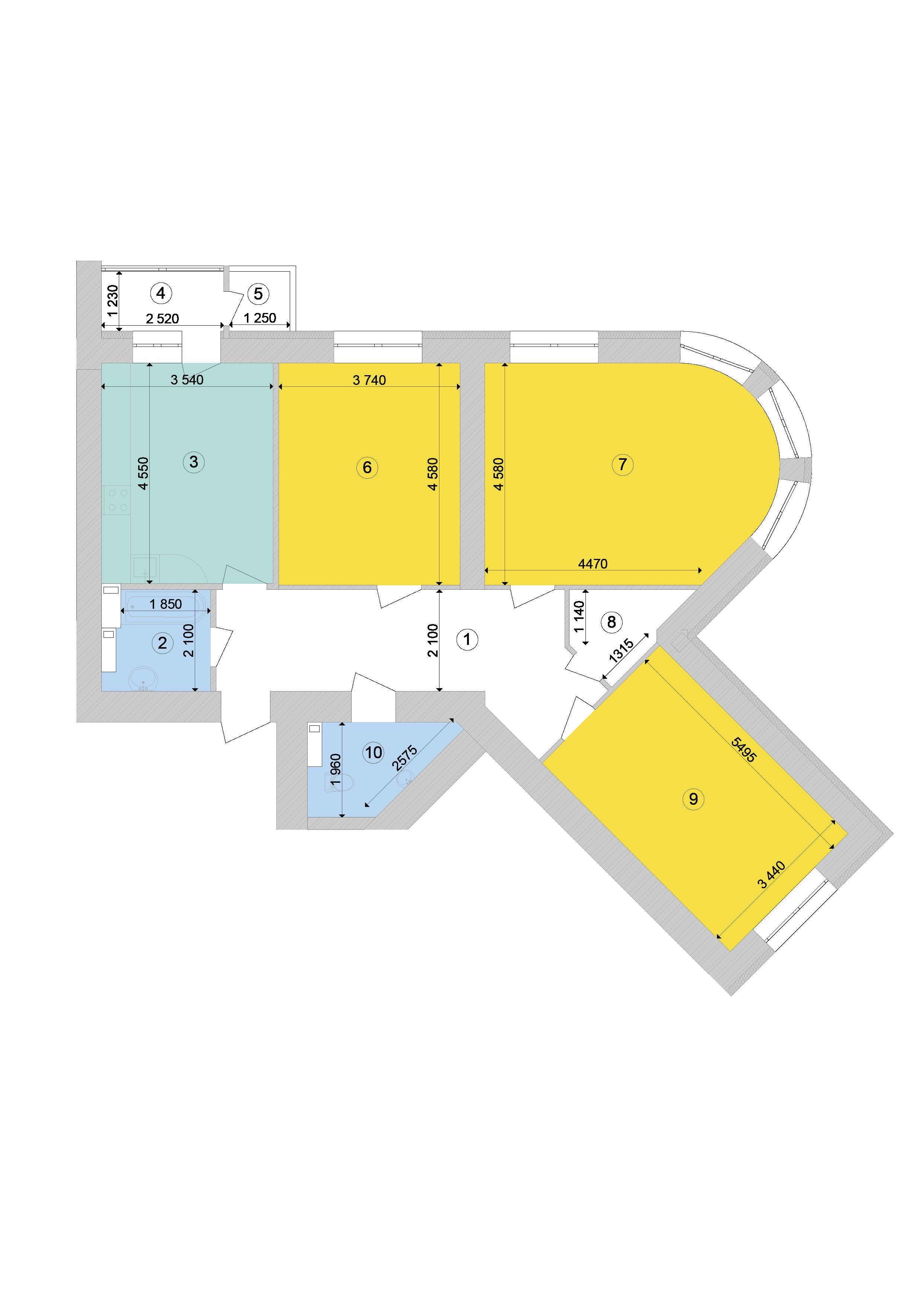 Купити Трикімнатна квартира 107,7 кв.м., тип 3.3, будинок 1, секція 9 в Києві Голосіївський район