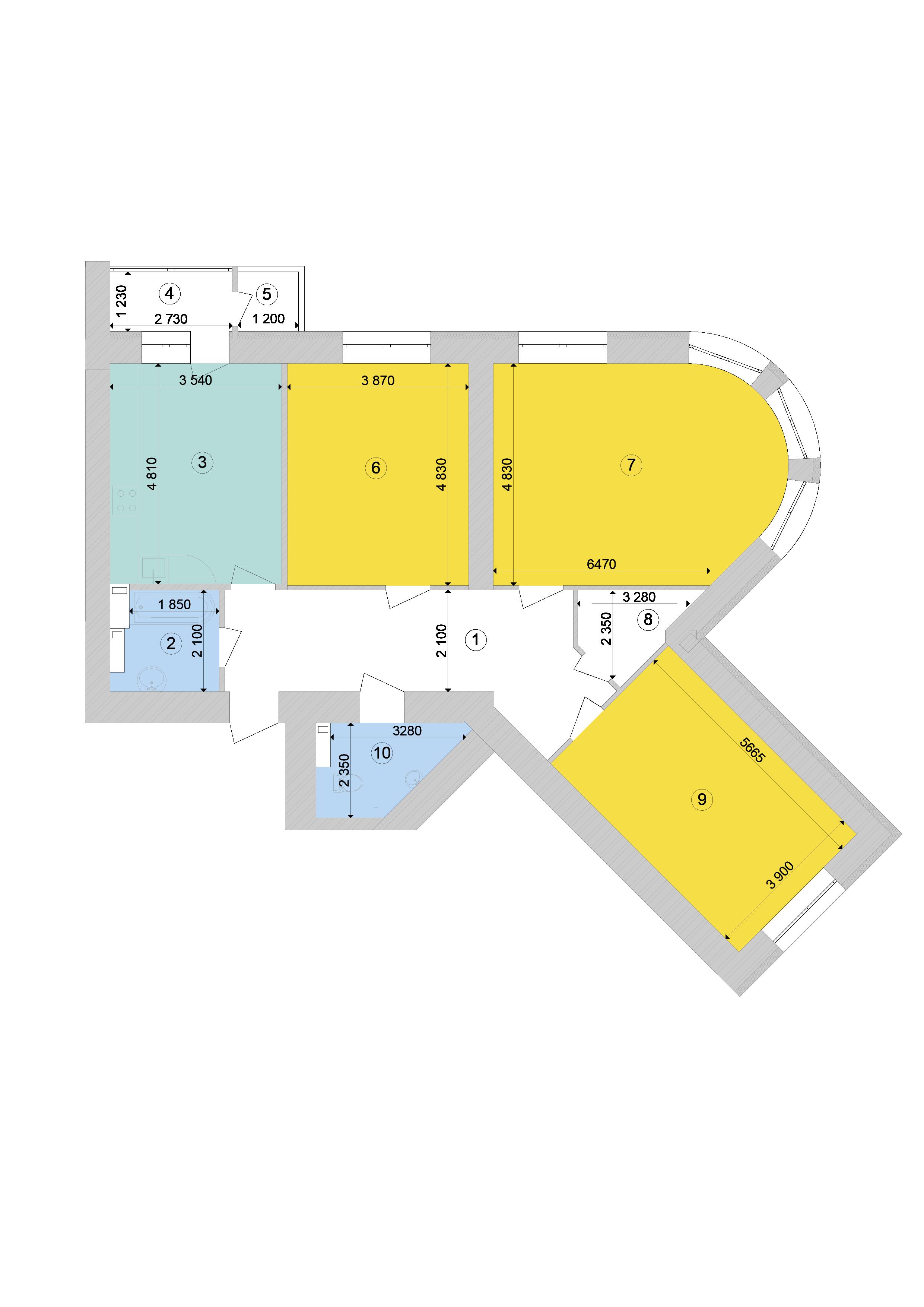 Купить Трехкомнатная квартира 118,4 кв.м., тип 3.4, дом 1, секция 9 в Киеве Голосеевский район