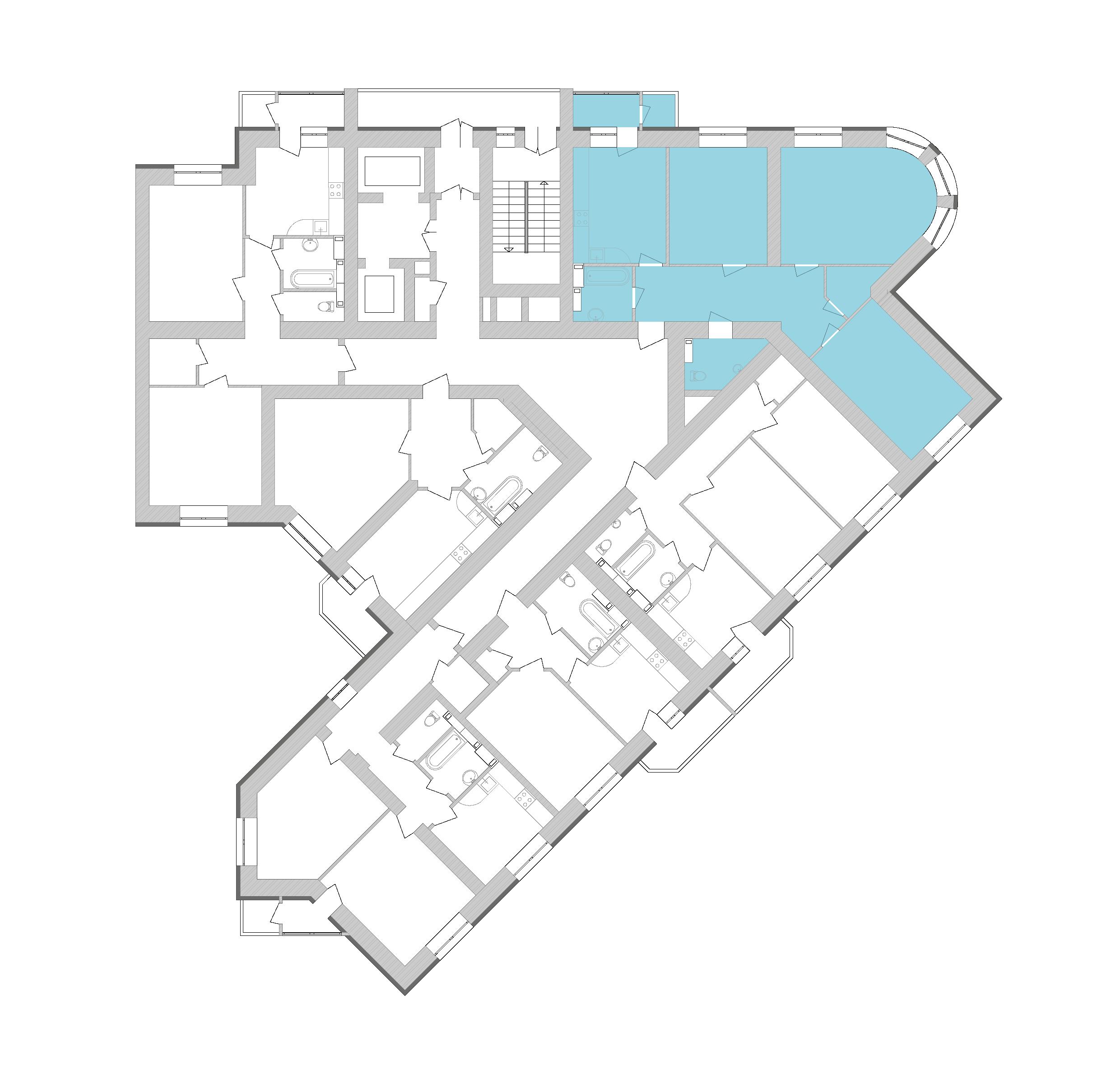 Трикімнатна квартира 107,7 кв.м., тип 3.3, будинок 1, секція 9 розташування на поверсі