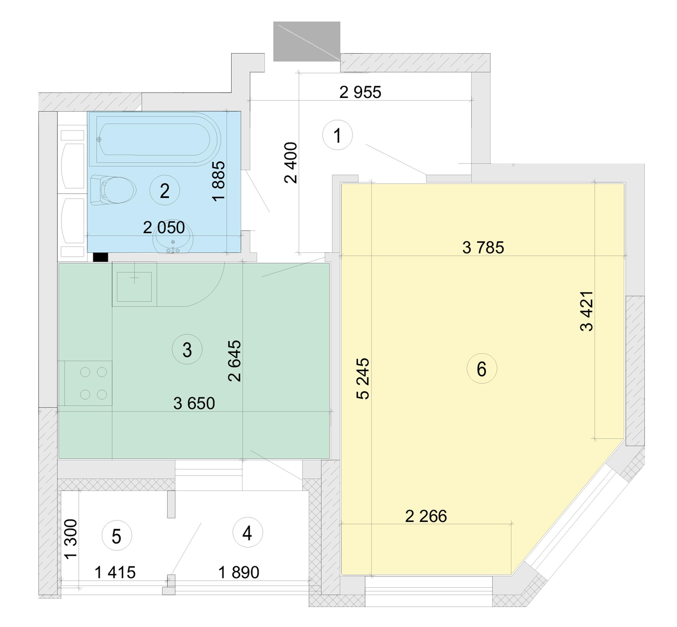 Купити Однокімнатна квартира 39,22 кв.м., тип 1.1, будинок 2, секція 5 в Києві Голосіївський район