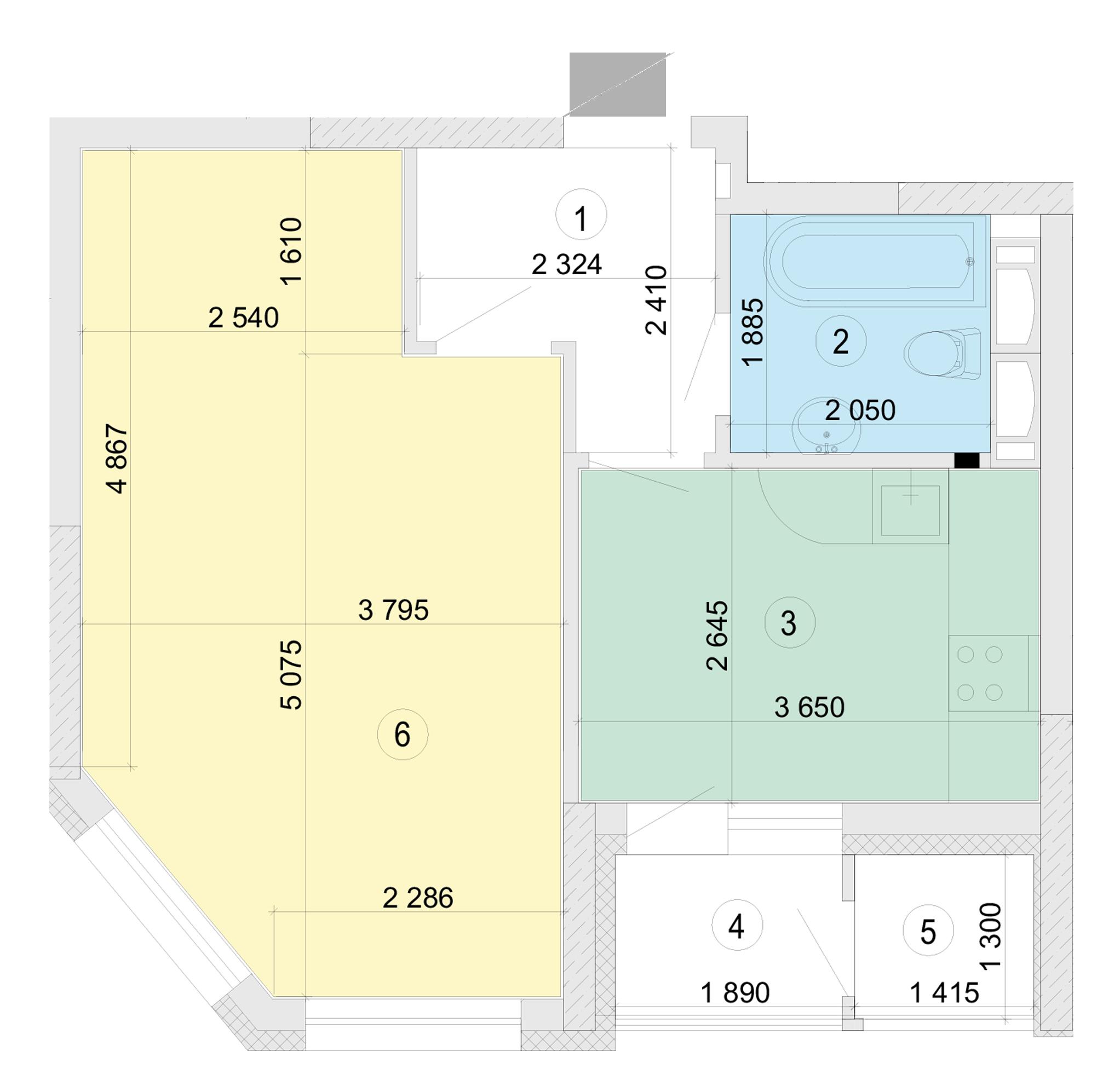 Купити Однокімнатна квартира 42,12 кв.м., тип 1.2, будинок 2, секція 5 в Києві Голосіївський район