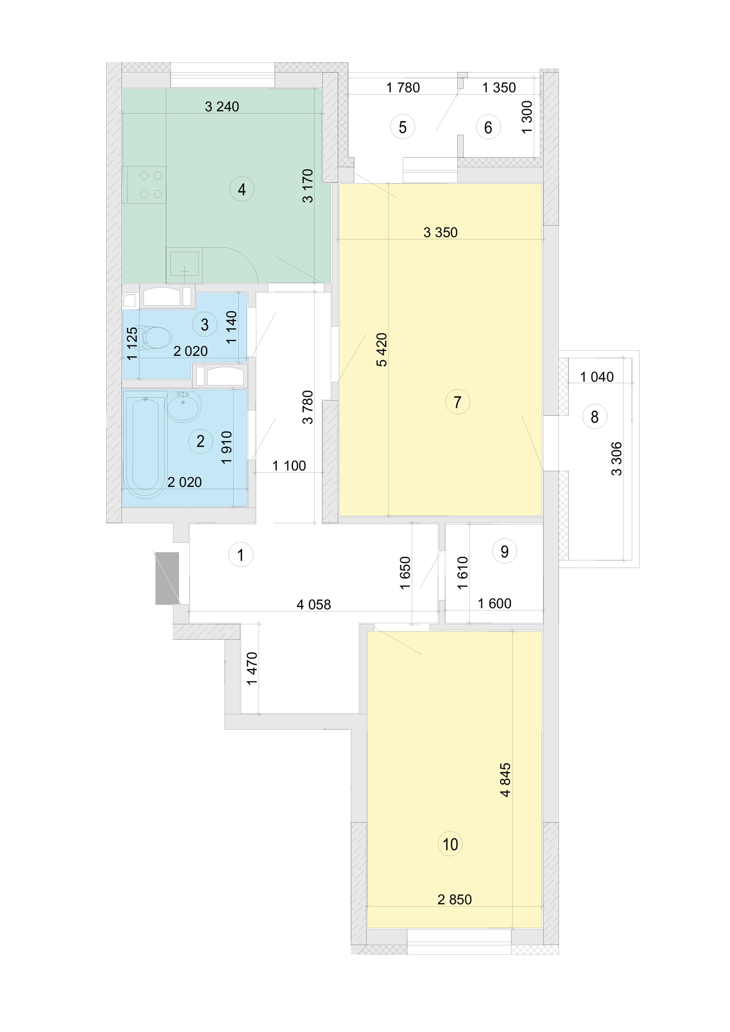 Купити Двокімнатна квартира 67,87 кв.м., тип 2.1, будинок 2, секція 5 в Києві Голосіївський район
