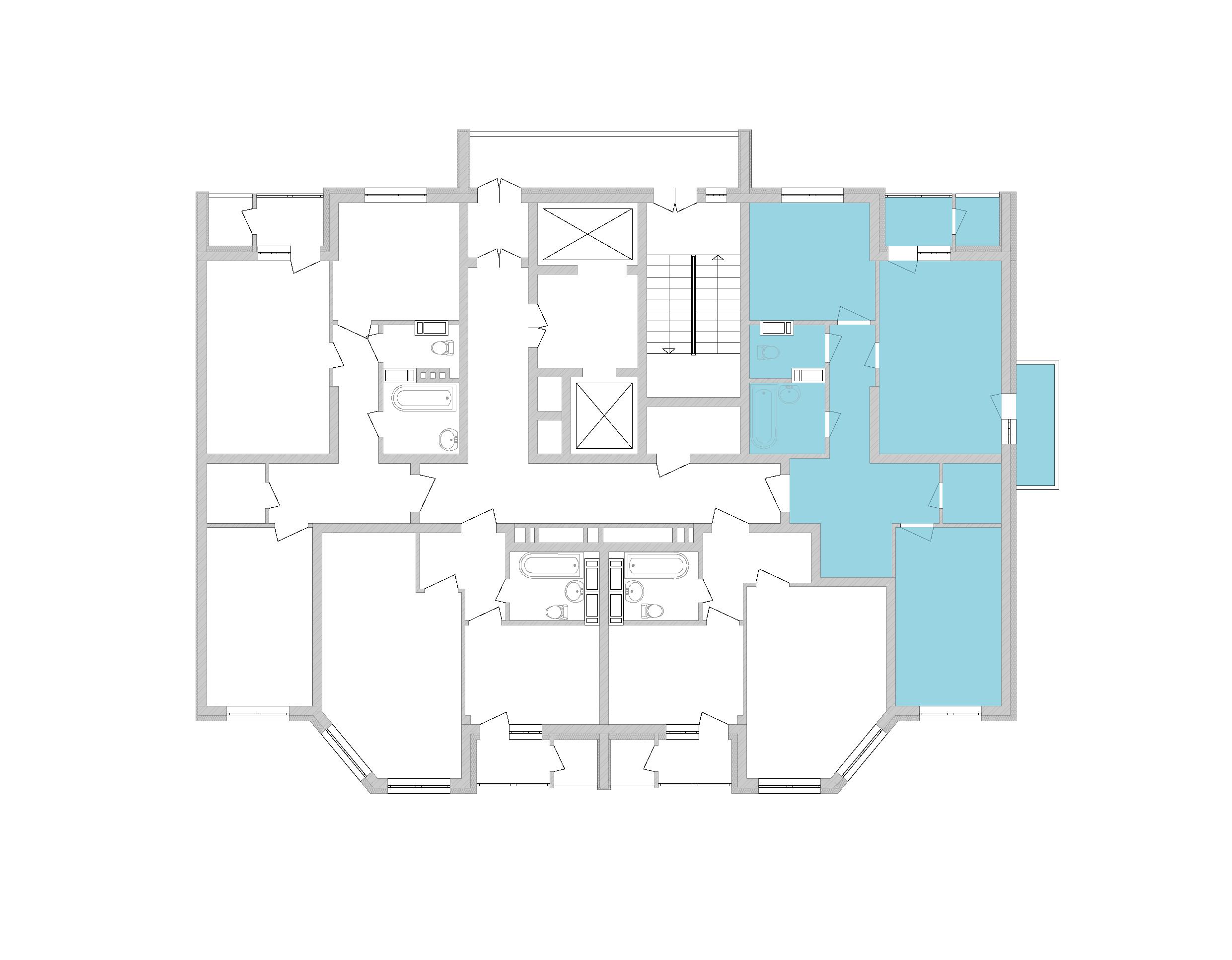 Двухкомнатная квартира 67,87 кв.м., тип 2.1, дом 2, секция 5 расположение на этаже