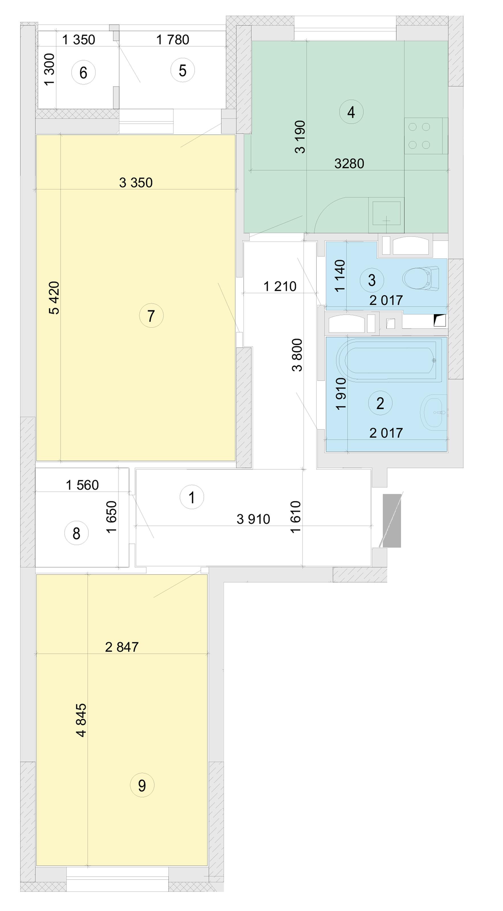 Купити Двокімнатна квартира 65,35 кв.м., тип 2.2, будинок 2, секція 5 в Києві Голосіївський район