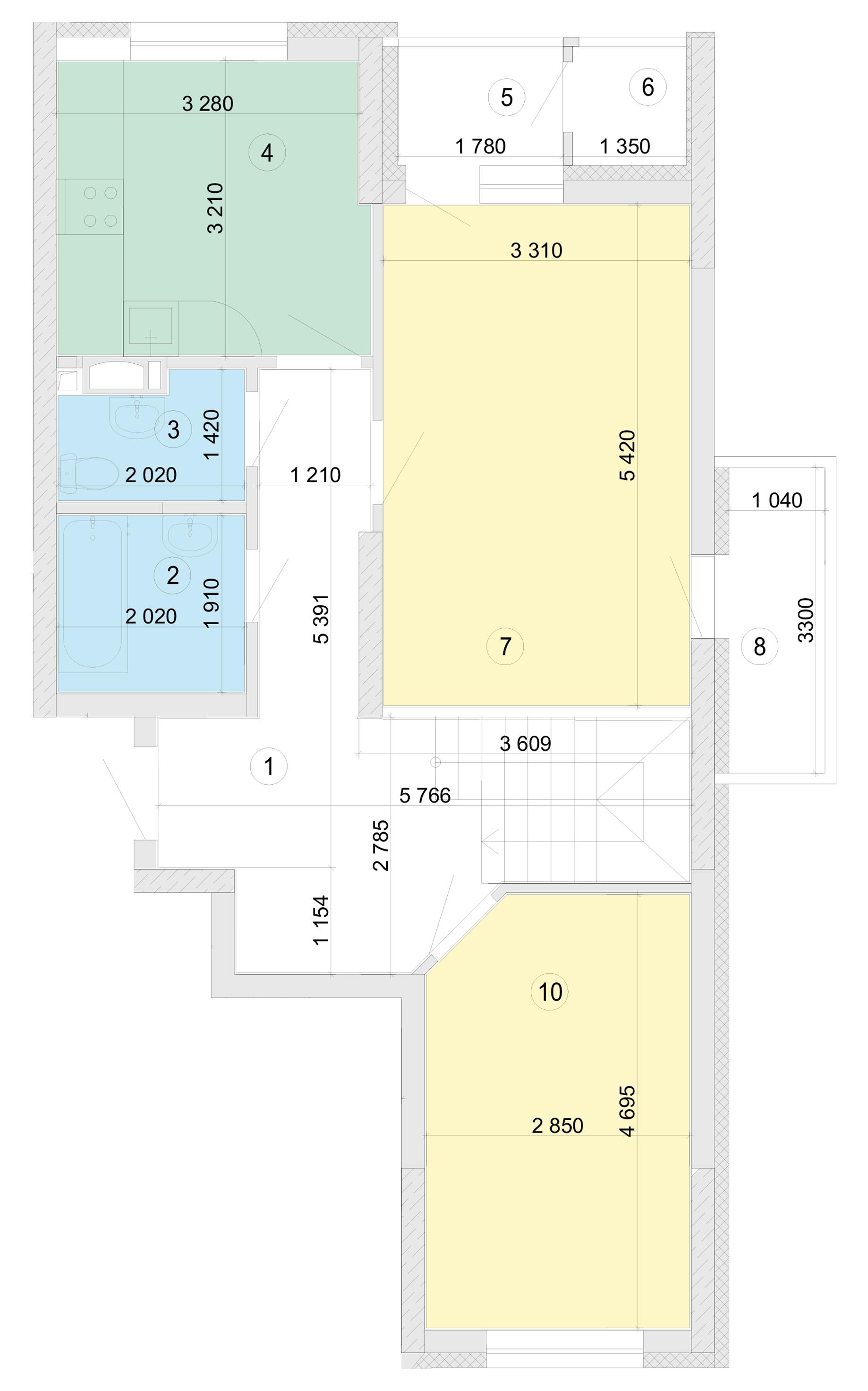Купити Дворівнева квартира 94,38 кв.м., тип П1, будинок 2, секція 5 в Києві Голосіївський район