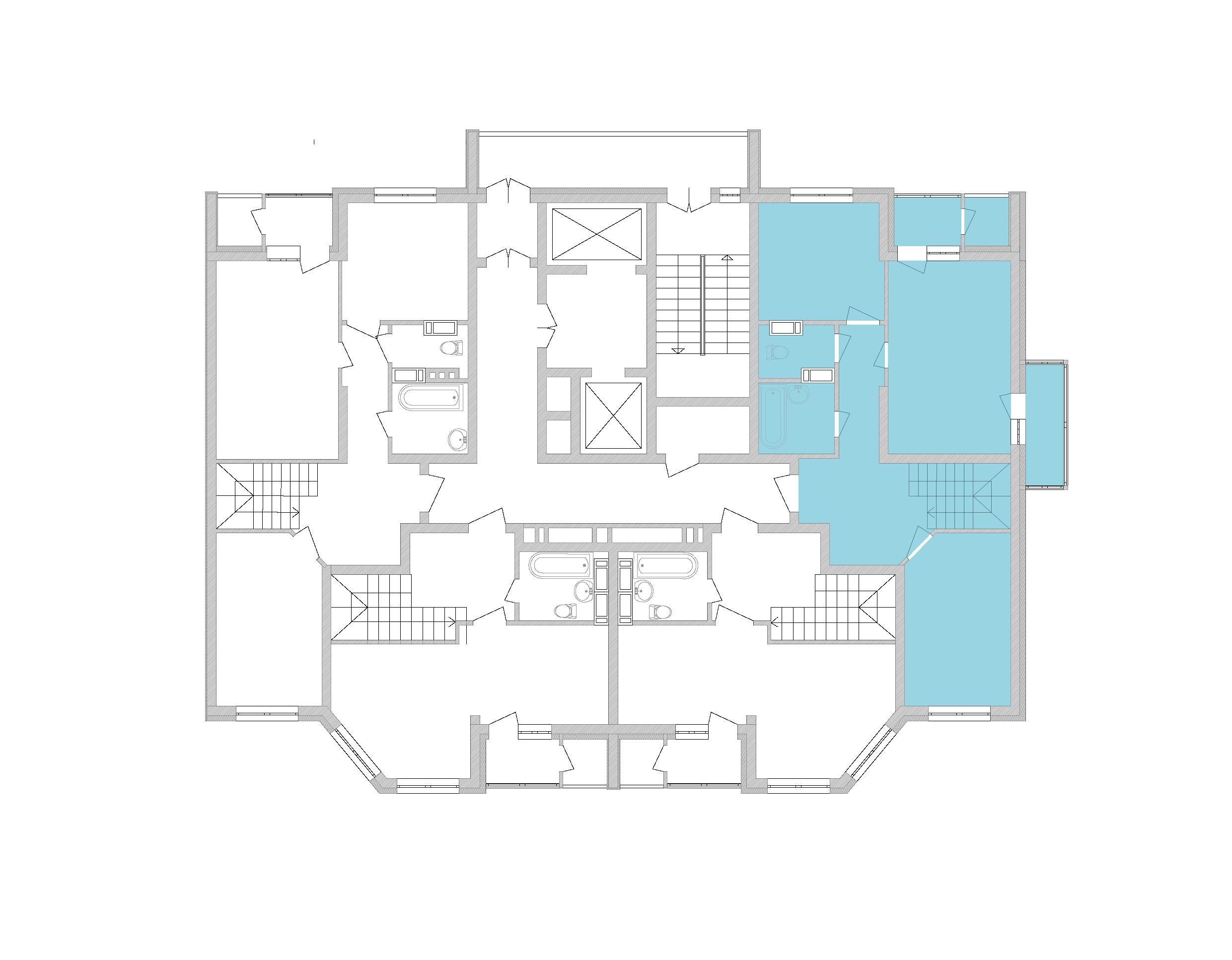 Дворівнева квартира 94,38 кв.м., тип П1, будинок 2, секція 5 розташування на поверсі