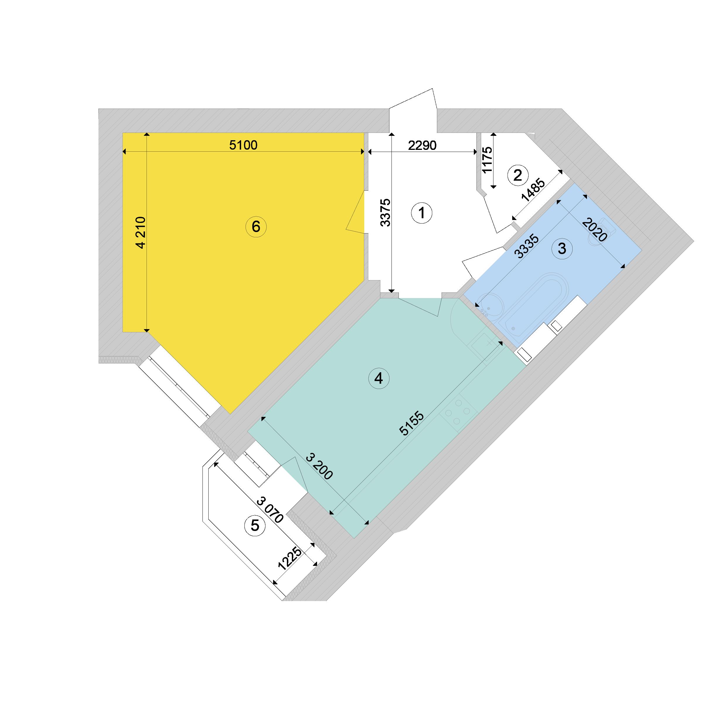Купити Однокімнатна квартира 56,56 кв.м., тип 1.4, будинок 1, секція 9 в Києві Голосіївський район