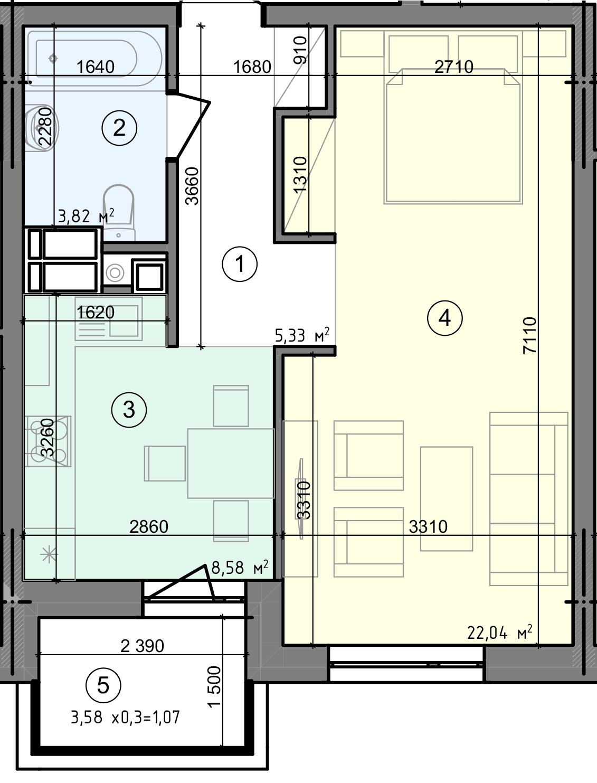 Купить Однокомнатная квартира 40,84 кв.м., тип 1.1, дом 3 секция 1 в Киеве Голосеевский район