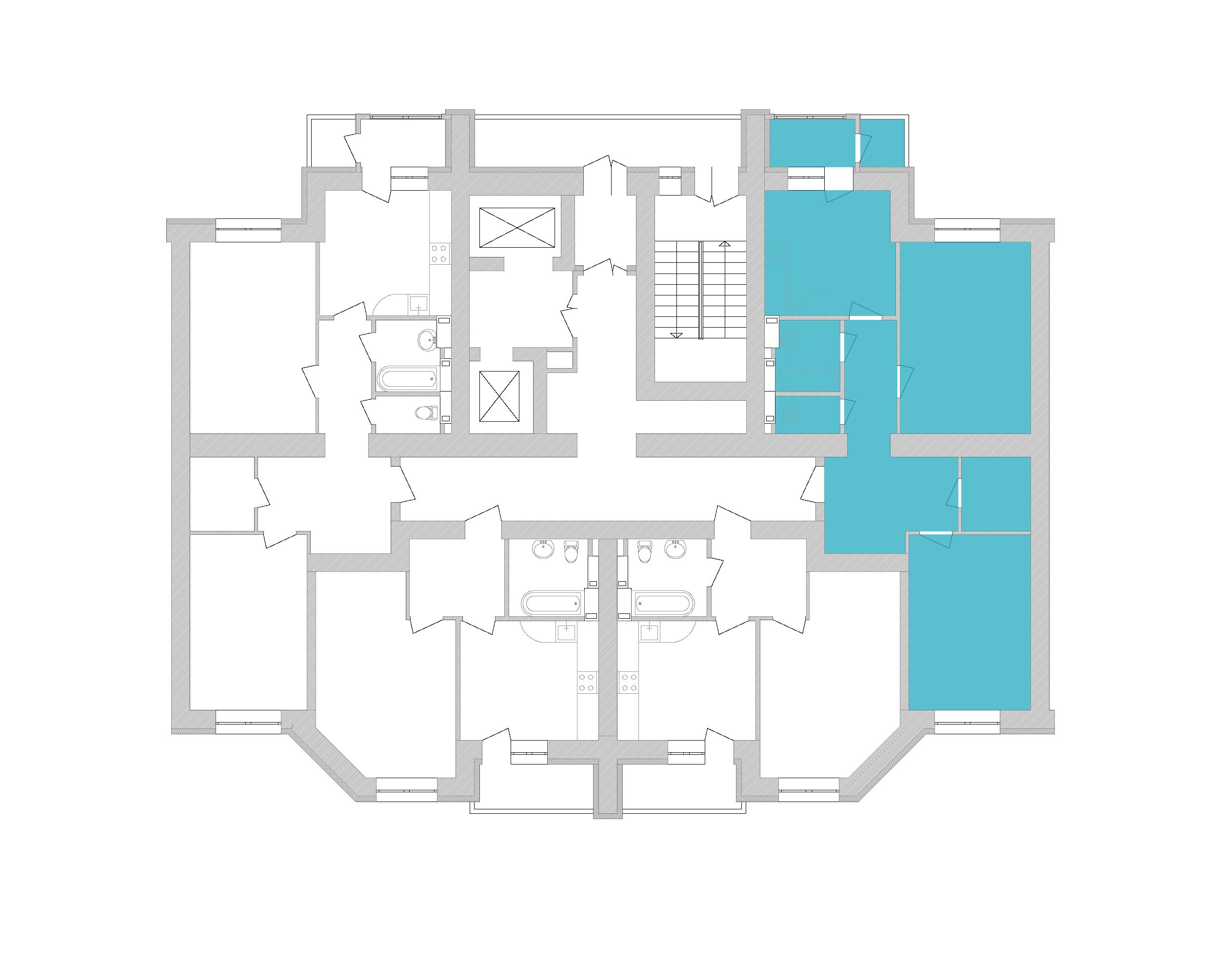 Двокімнатна квартира 73,86 кв.м., тип 2.3, будинок 1, секція 8 розташування на поверсі