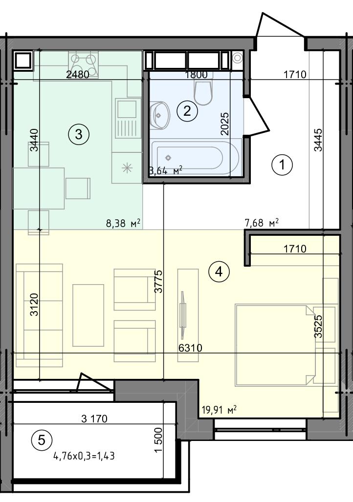 Купить Однокомнатная квартира 41,04 кв.м., тип 1.2, дом 3 секция 1 в Киеве Голосеевский район