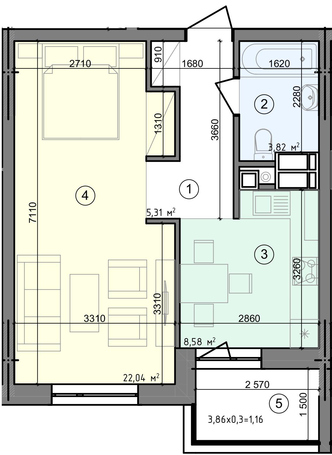 Купить Однокомнатная квартира 40,91 кв.м., тип 1.3, дом 3 секция 1 в Киеве Голосеевский район