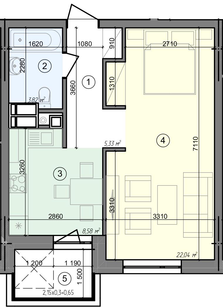 Купить Однокомнатная квартира 40,42 кв.м., тип 1.4, дом 3 секция 1 в Киеве Голосеевский район