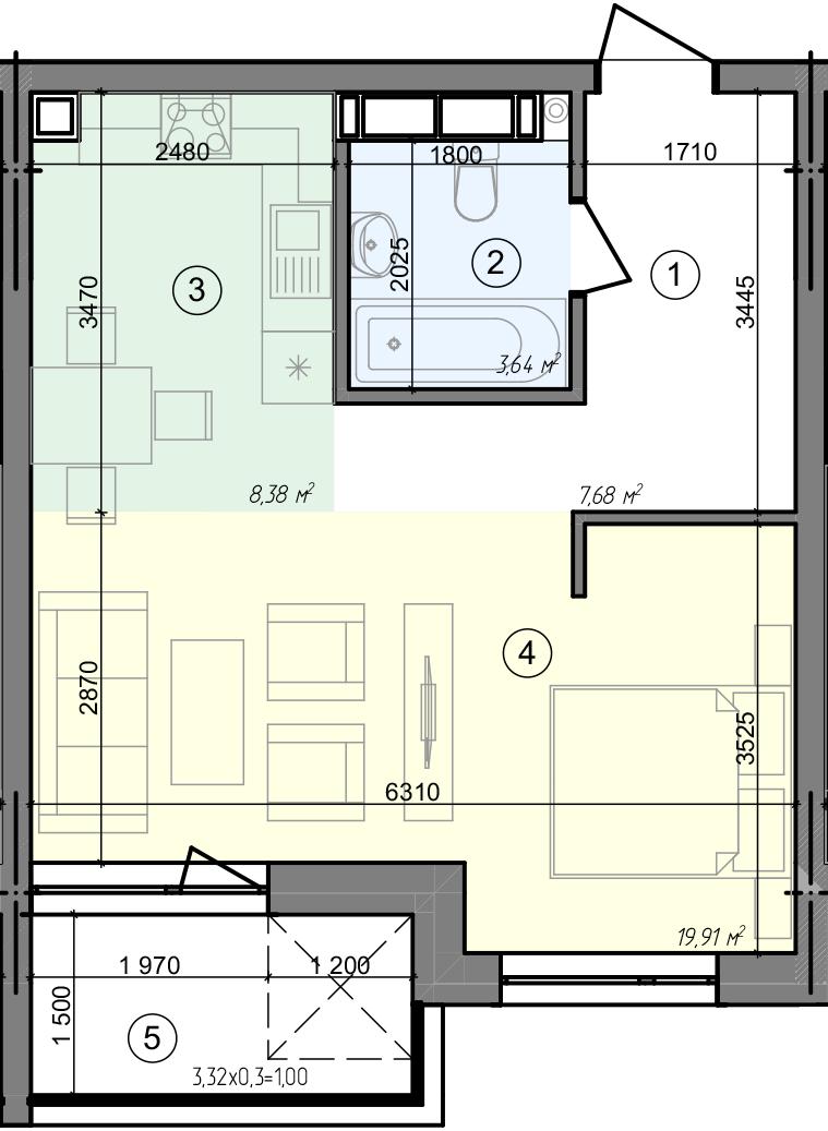 Купити Однокімнатна квартира 40,61 кв.м., тип 1.5, будинок 3 секція 1 в Києві Голосіївський район