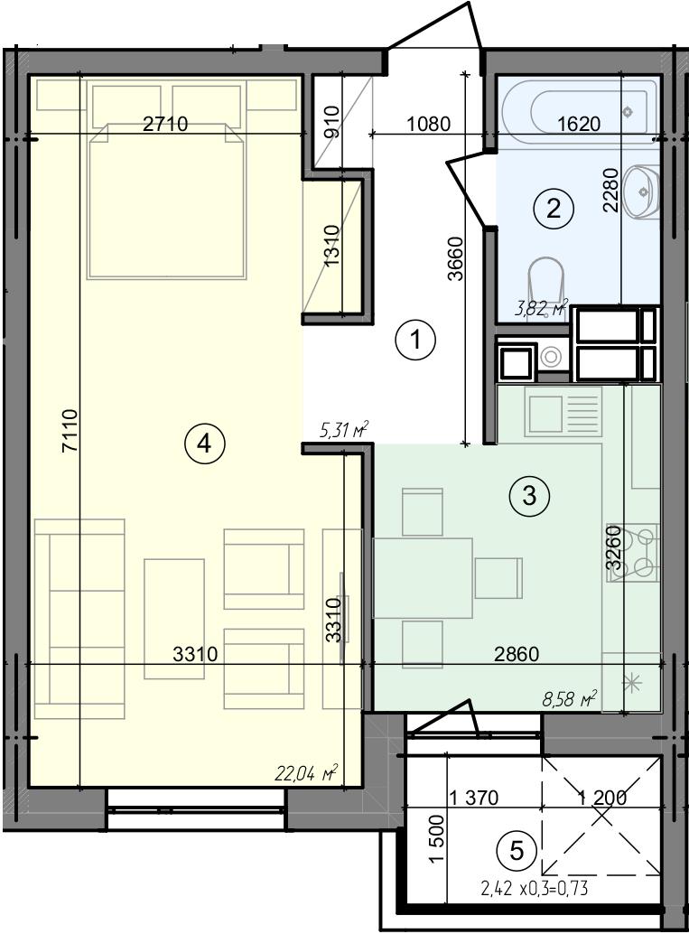 Купити Однокімнатна квартира 40,48 кв.м., тип 1.6, будинок 3 секція 1 в Києві Голосіївський район