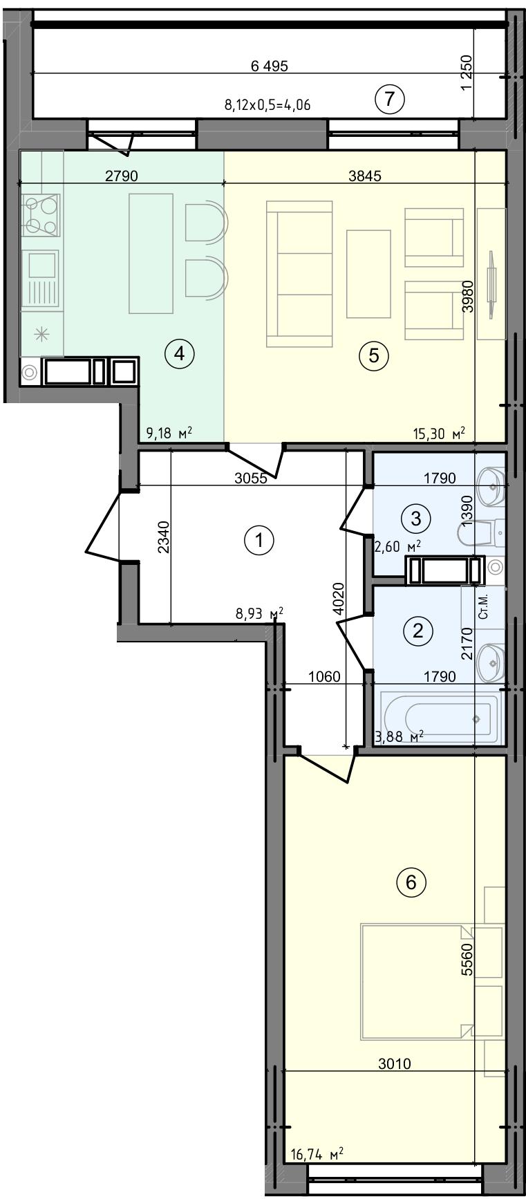 Купити Двокімнатна квартира 60,69 кв.м., тип 2.1, будинок 2, секція 5 в Києві Голосіївський район