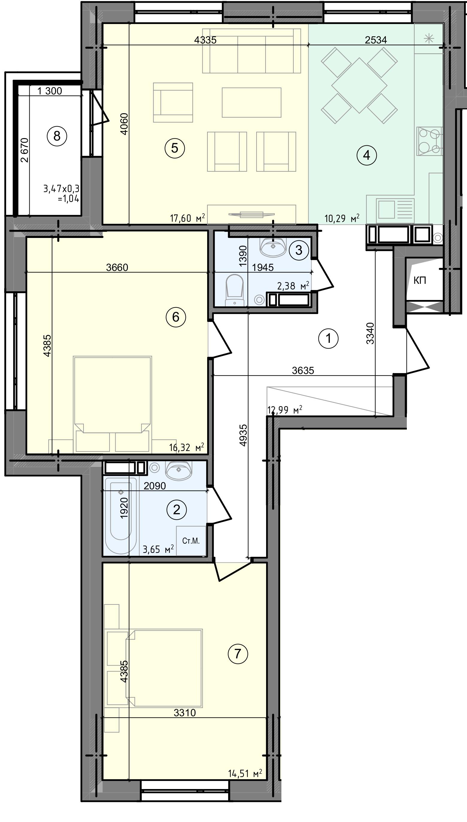 Купить Трехкомнатная квартира 78,78 кв.м., тип 3.1, дом  3, секция 1 в Киеве Голосеевский район