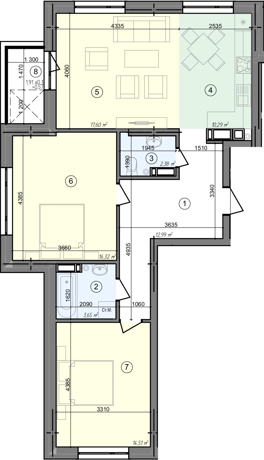 Купити Трикімнатна квартира 78,31 кв.м., тип 3.2, будинок 3, секція 1 в Києві Голосіївський район