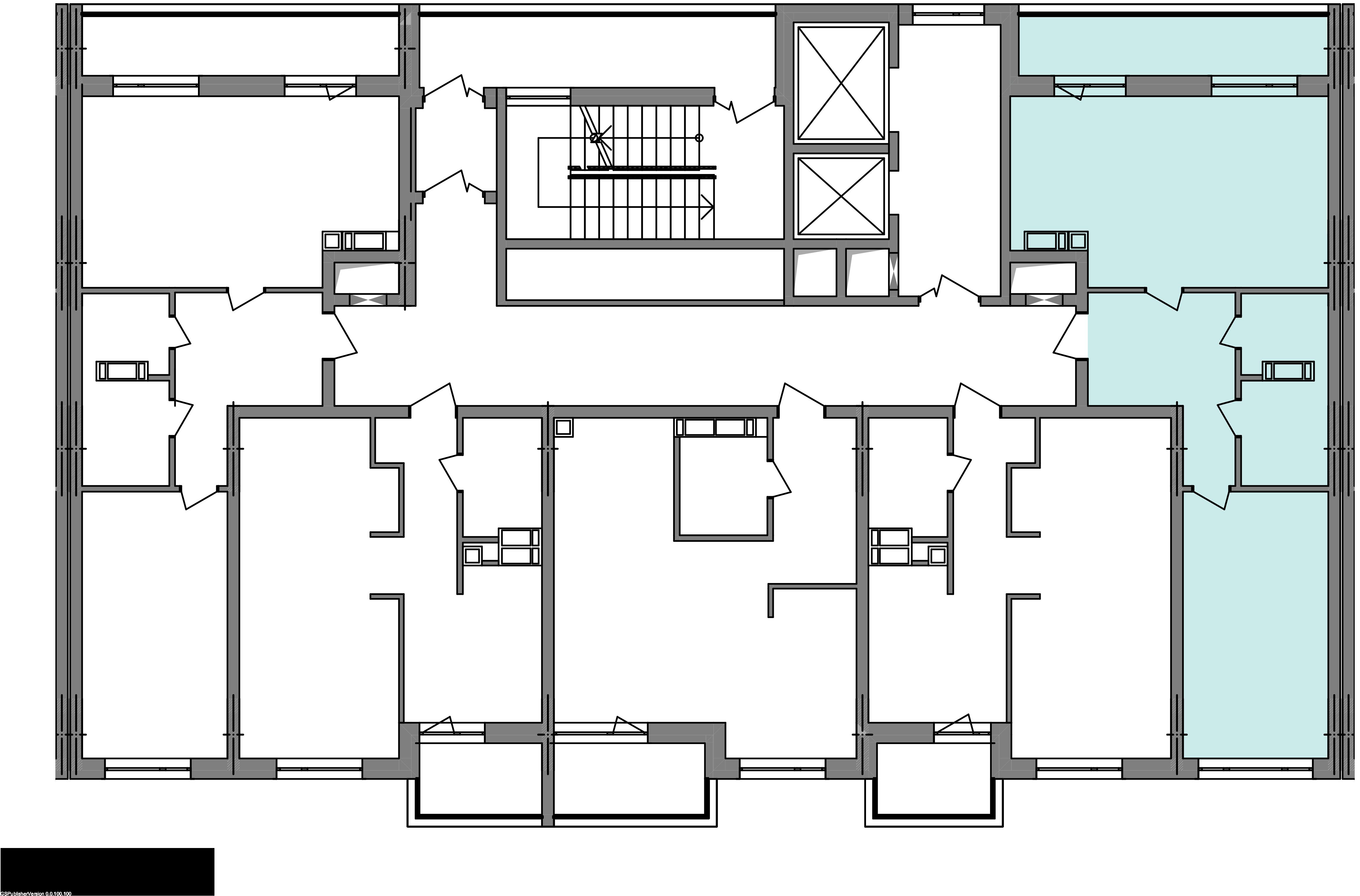 Двухкомнатная квартира 59,73 кв.м., тип 2.3, дом 3, секція 2 расположение на этаже
