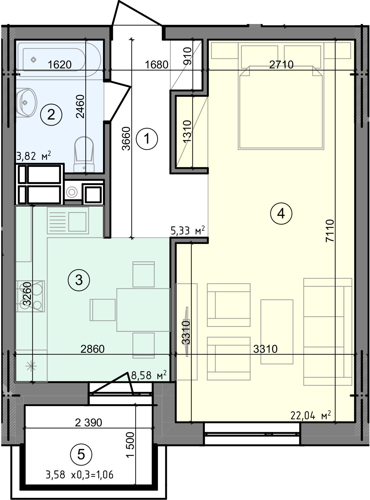 Купить Однокомнатная квартира 40,83 кв.м., тип 1.1, дом  3 секция 2 в Киеве Голосеевский район