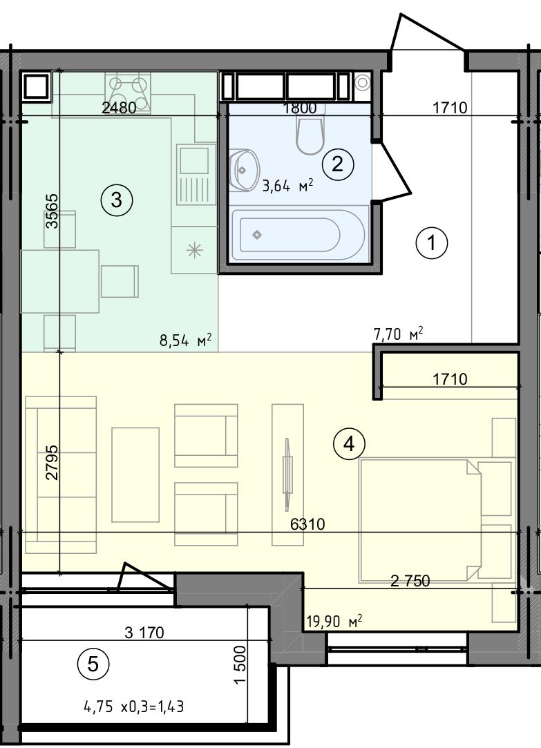 Купить Однокомнатная квартира 41,21 кв.м., тип 1.2, дом 3 секція 2 в Киеве Голосеевский район