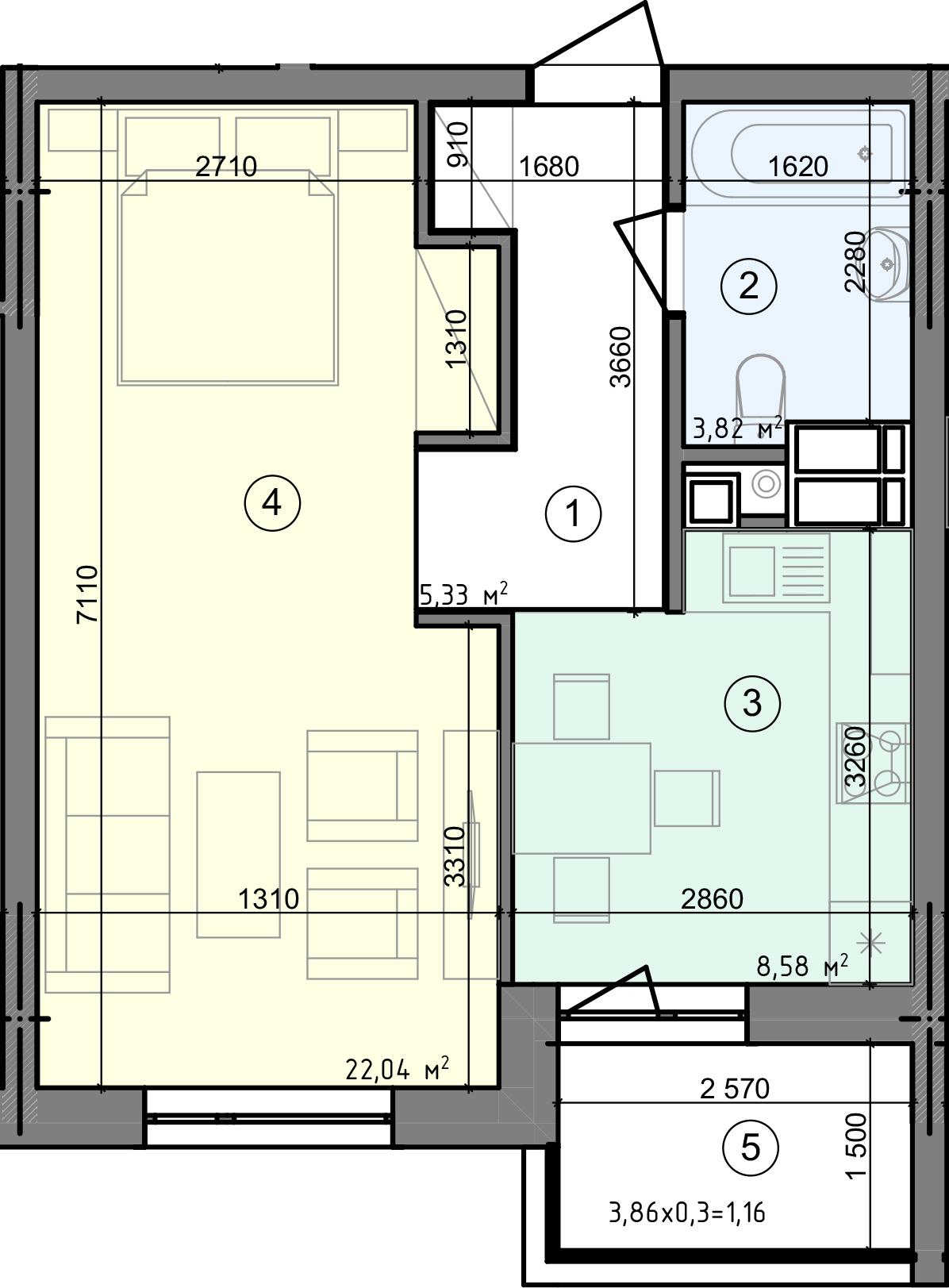 Купить Однокомнатная квартира 40,93 кв.м., тип 1.3, дом 3 секция 2 в Киеве Голосеевский район