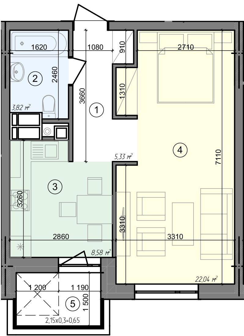 Купить Однокомнатная квартира 40,42 кв.м., тип 1.4, дом 3 секция 2 в Киеве Голосеевский район