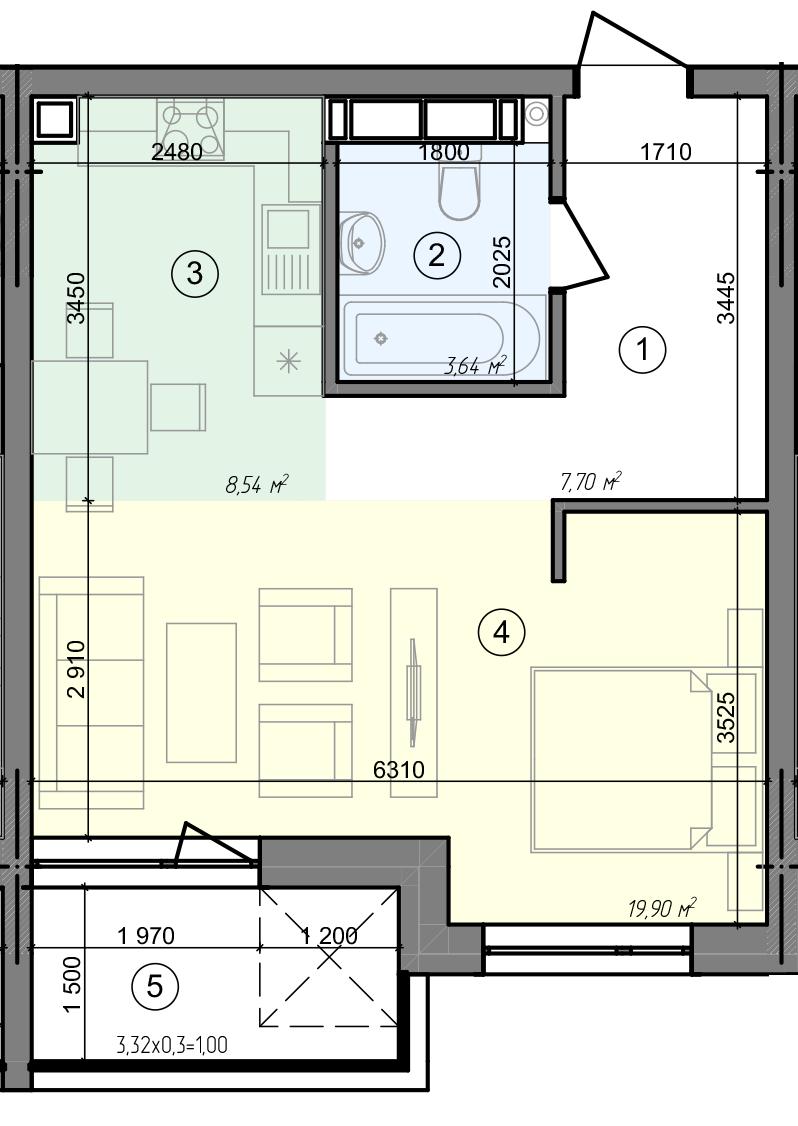 Купити Однокімнатна квартира 40,78 кв.м., тип 1.5, будинок 3 секція 2 в Києві Голосіївський район