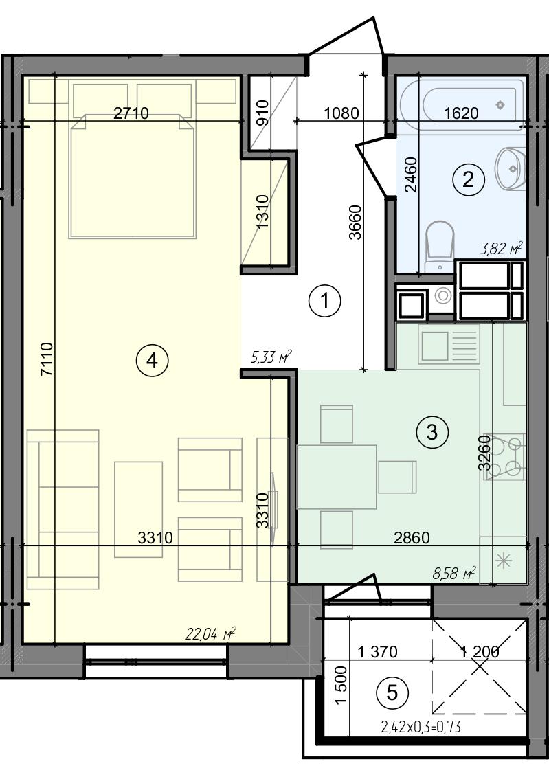 Купити Однокімнатна квартира 40,50 кв.м., тип 1.6, будинок 3 секція 2 в Києві Голосіївський район
