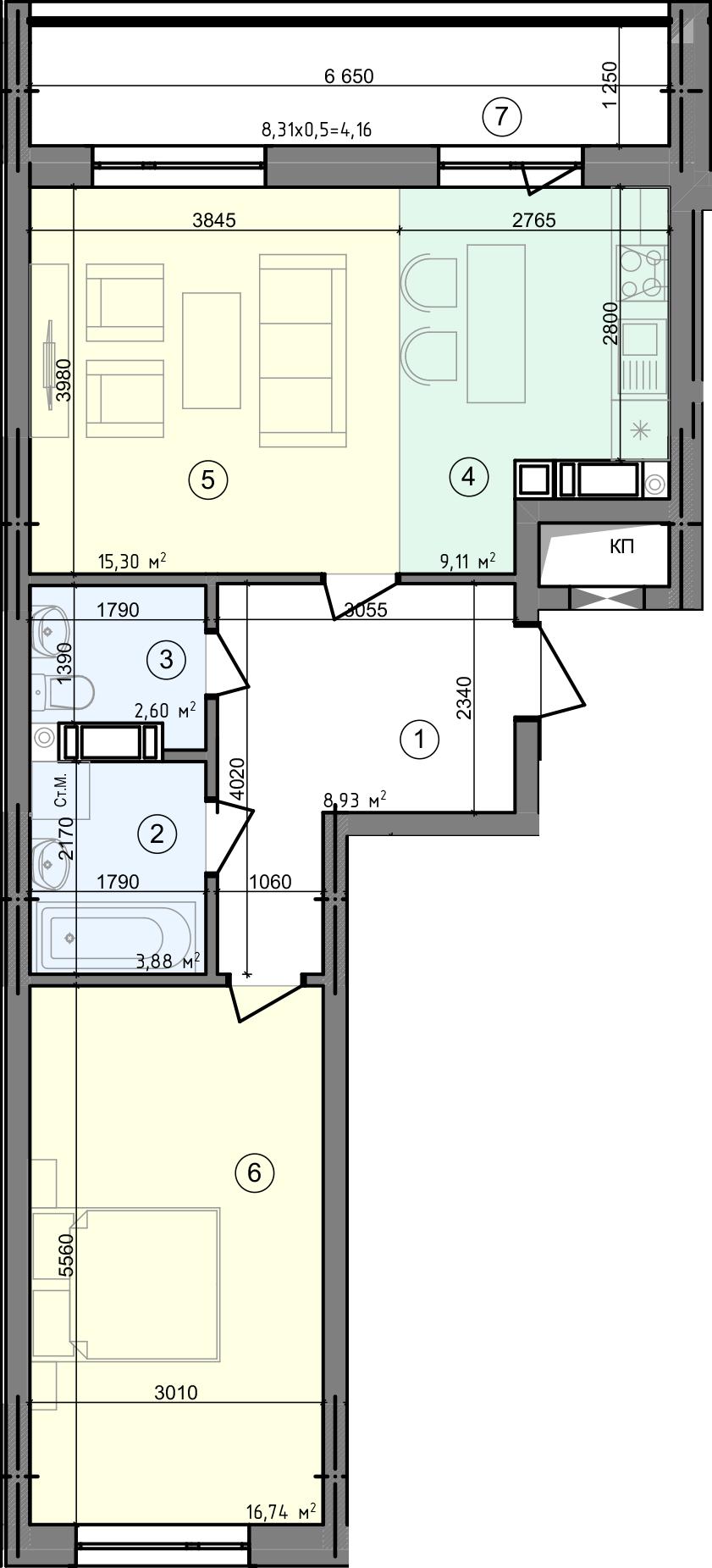 Купити Двокімнатна квартира 60,72 кв.м., тип 2.2, будинок 2, секція 5 в Києві Голосіївський район