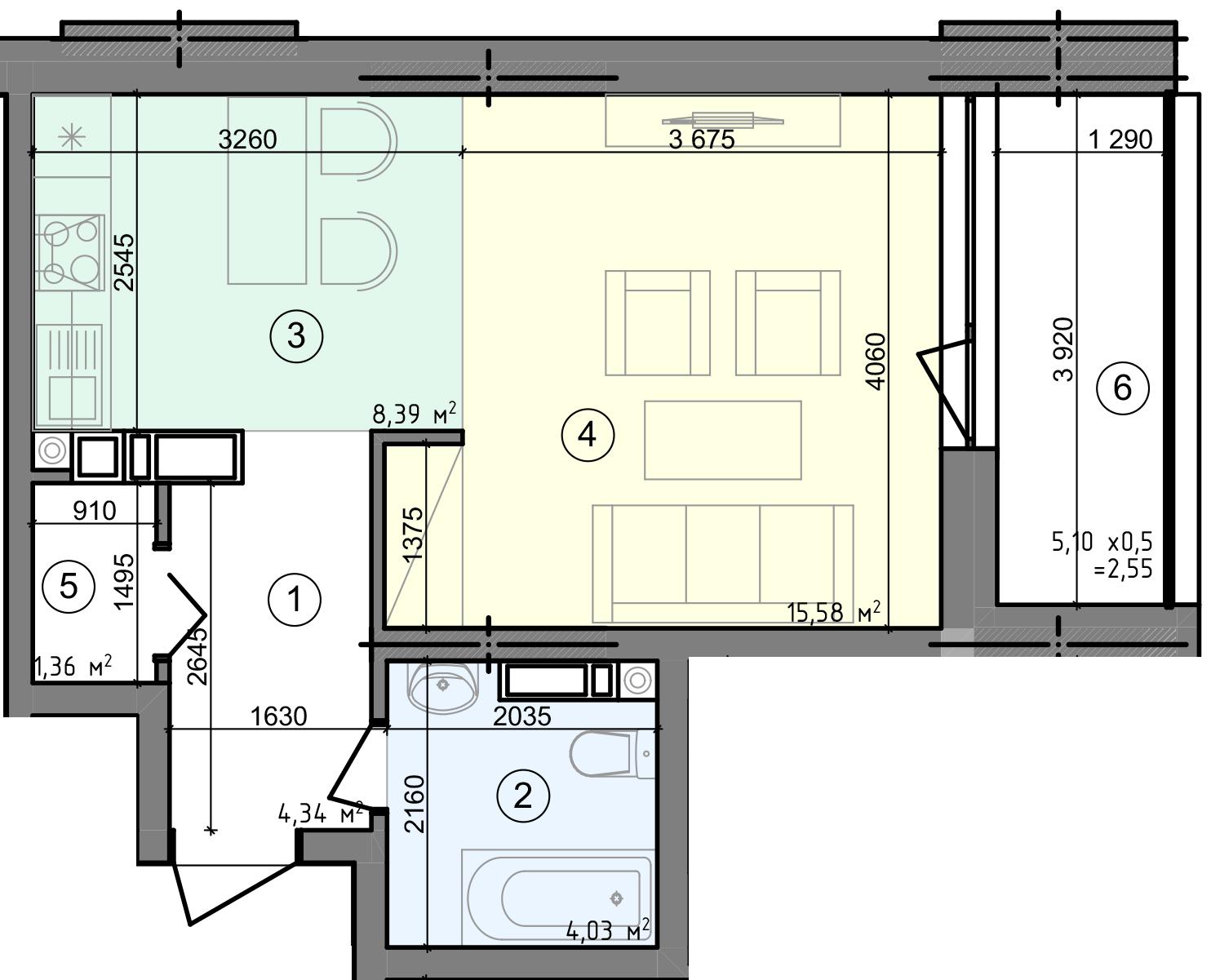 Купить Однокомнатная квартира 36,25 кв.м., тип 1.1, дом 3 секция 3 в Киеве Голосеевский район