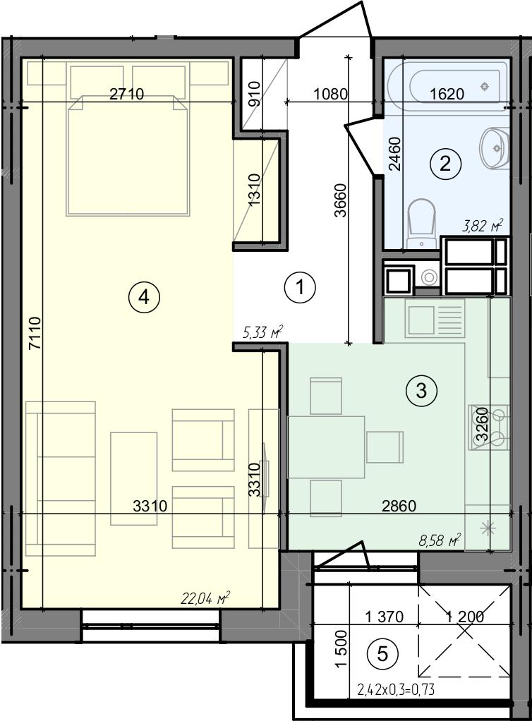 Купити Однокімнатна квартира 40,50 кв.м., тип 1.1, будинок 3 секція 3 в Києві Голосіївський район