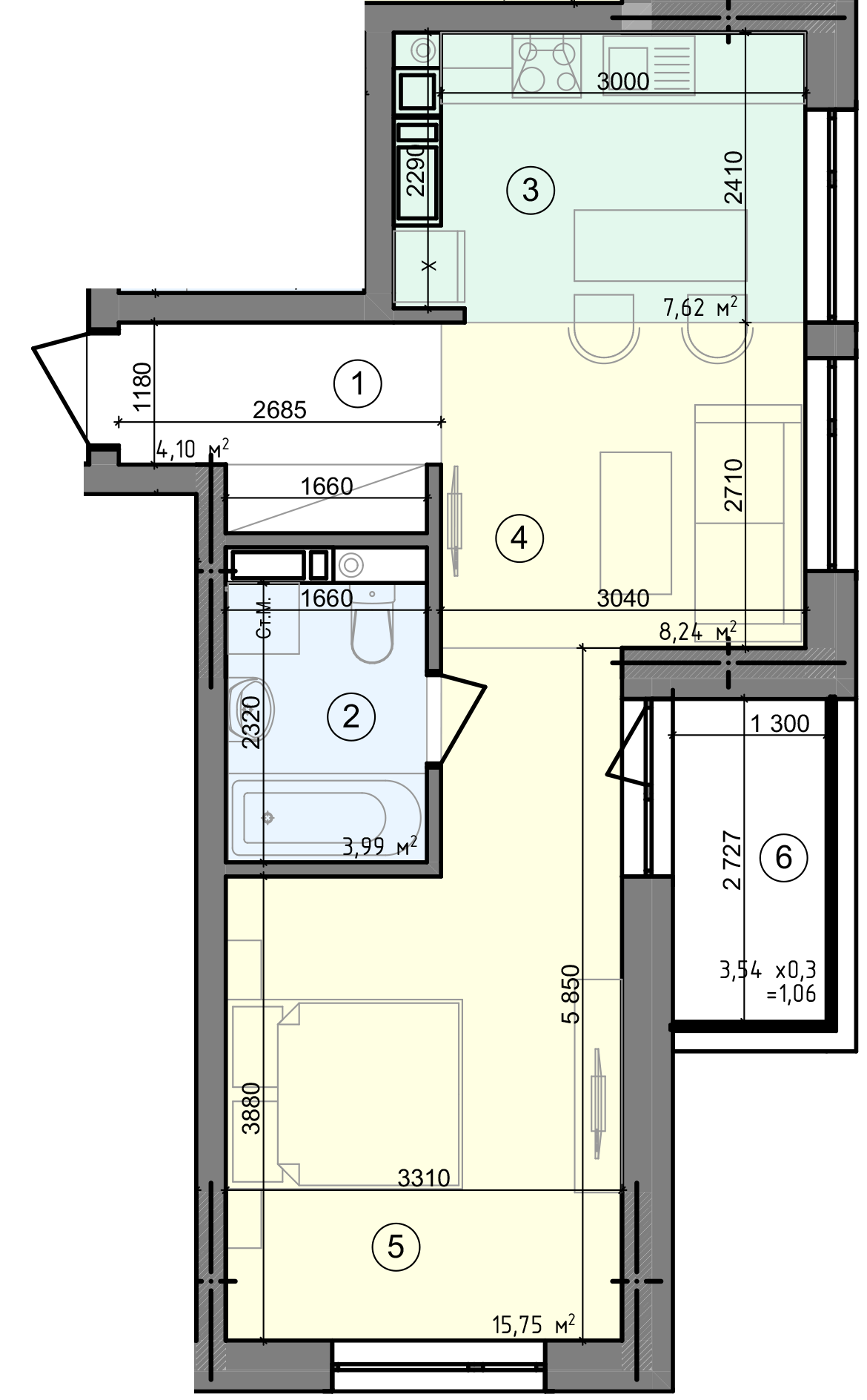 Купить Однокомнатная квартира 40,76 кв.м., тип 1.1, дом 3 секция 3 в Киеве Голосеевский район