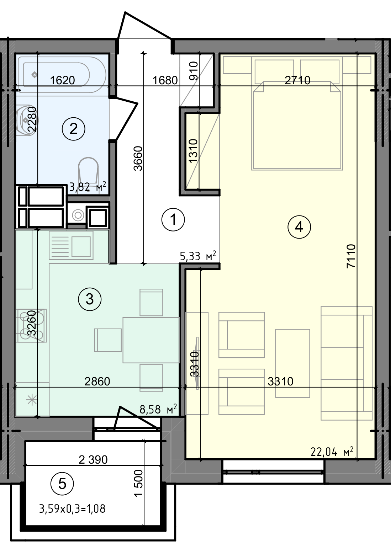 Купить Однокомнатная квартира 40,85 кв.м., тип 1.3, дом 3 секция 3 в Киеве Голосеевский район