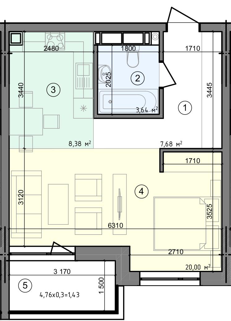 Купить Однокомнатная квартира 41,13 кв.м., тип 1.4, дом 3 секция 3 в Киеве Голосеевский район