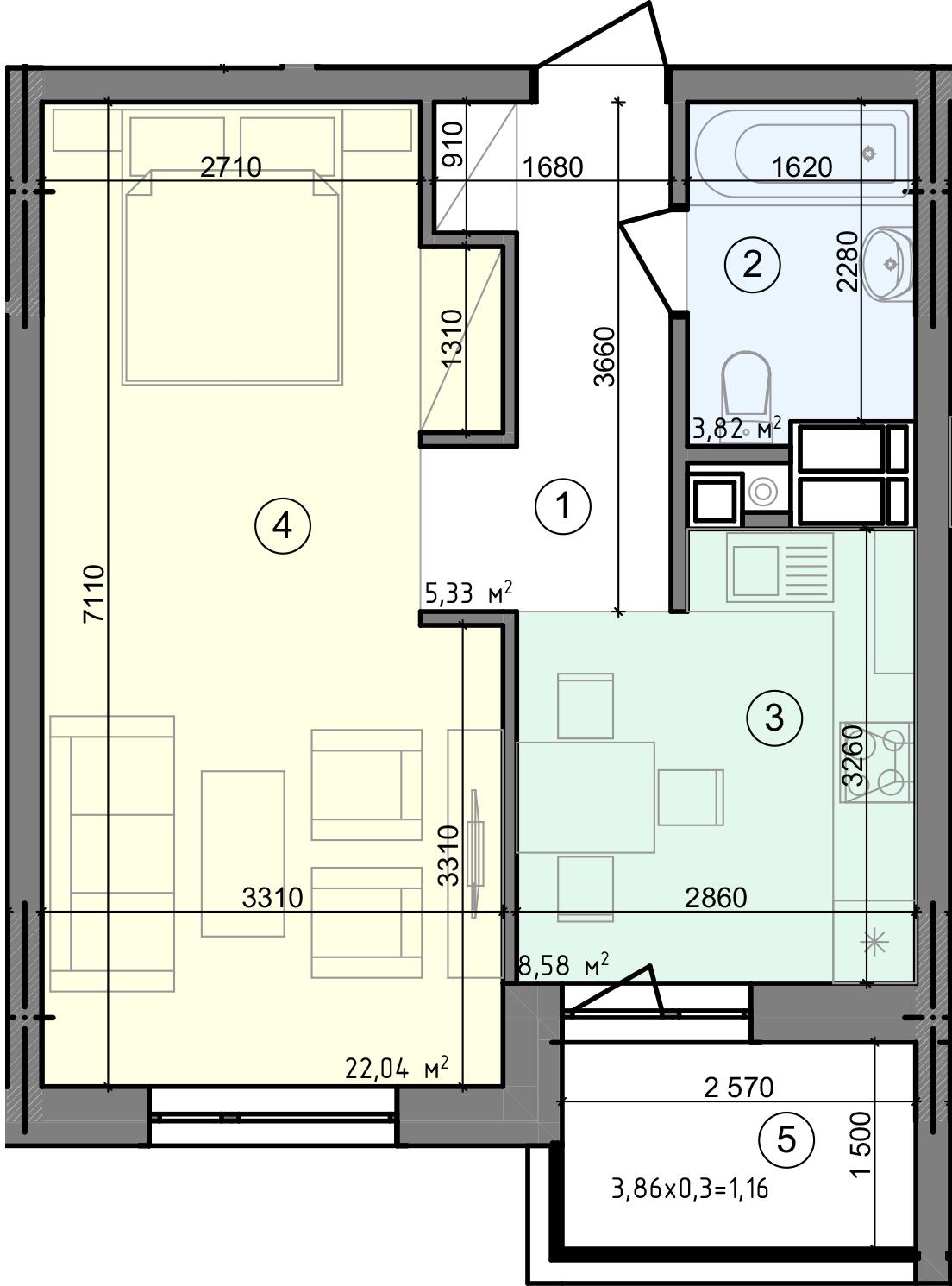 Купить Однокомнатная квартира 40,93 кв.м., тип 1.5, дом 3 секция 3 в Киеве Голосеевский район