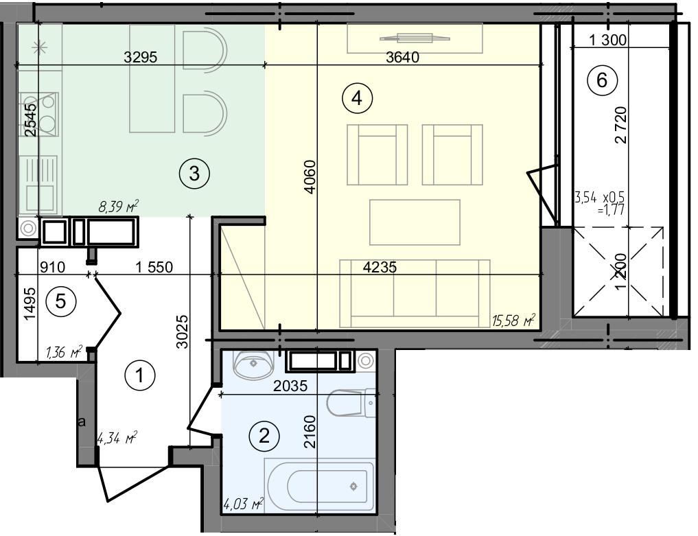 Купити Однокімнатна квартира 35,47 кв.м., тип 1.6, будинок 3 секція 3 в Києві Голосіївський район